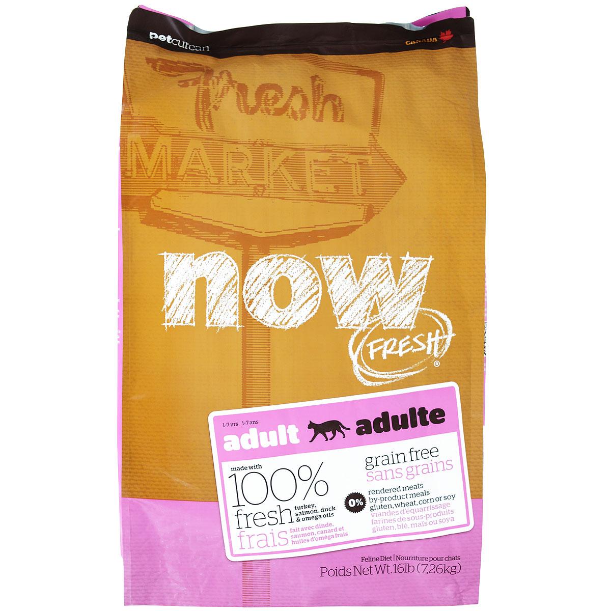 Корм сухой Now Fresh для взрослых кошек, беззерновой, с индейкой, уткой и овощами, 7,26 кг0120710Now Fresh - полностью сбалансированный холистик корм из свежего филе индейки и утки, выращенных на канадских фермах. При производстве кормов используется только свежее мясо индейки, утки, лосося, кокосовое и рапсовое масло. Это первый беззерновой корм со сбалансированным содержание белков и жиров. Ключевые преимущества: - полностью беззерновой,- не содержит субпродуктов, красителей, говядины, мясных ингредиентов, выращенных на гормонах, - оптимальное соотношение белков и жиров помогает кошек оставаться здоровым и сохранять отличную форму,- докозагексаеновая кислота (DHA) и эйкозапентаеновая кислота (EPA) необходима для нормальной деятельности мозга и здорового зрения,- пробиотики и пребиотики обеспечивают здоровое пищеварение,- таурин необходим для здоровья глаз и нормального функционирования сердечной мышцы,- омега-масла в составе необходимы для здоровой кожи и шерсти,- антиоксиданты укрепляют иммунную систему. Состав: филе индейки, картофель, горох, свежие цельные яйца, томаты, масло канолы (источник витамина Е), семена льна, натуральный ароматизатор, филе лосося, утиное филе, кокосовое масло (источник витамина Е), яблоки, морковь, тыква, бананы, черника, клюква, малина, ежевика, папайя, ананас, грейпфрут, чечевица, брокколи, шпинат, творог, ростки люцерны, дикальций фосфат, люцерна, карбонат кальция, фосфорная кислота, натрия хлорид, лецитин, хлорид калия, DL-метионин, таурин, витамины (витамин Е, L-аскорбил-2-полифосфатов (источник витамина С), никотиновая кислота, инозит, витамин А, тиамин, амононитрат, пантотенат D-кальция, пиридоксинагидрохлорид, рибофлавин, бета-каротин, витамин D3, фолиевая кислота, биотин, витаминВ12), минералы (протеинат цинка, сульфат железа, оксид цинка, протеинат железа, сульфат меди, протеинат меди, протеинат марганца, оксид марганца, йодат кальция, селенит натрия), сушеные водоросли, L-лизин, сухой корень цикория, Lactobacillus, Enterococ