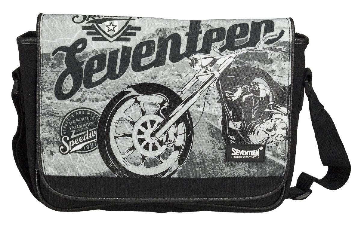 Сумка молодежная Seventeen, цвет: черный, серый. SVCB-RT6-953272523WDСумка молодежная Seventeen изготовлена из прочного, износостойкого материала черного и серого цветов и оформлена изображением мотоцикла.Сумка имеет одно большое отделение, которое закрывается клапаном на две магнитные кнопки. Внутри отделения имеется прорезной карман на застежке-молнии. Лямка регулируется по длине.Такую сумку можно использовать для повседневных прогулок, отдыха и спорта, а также как элемент вашего имиджа.