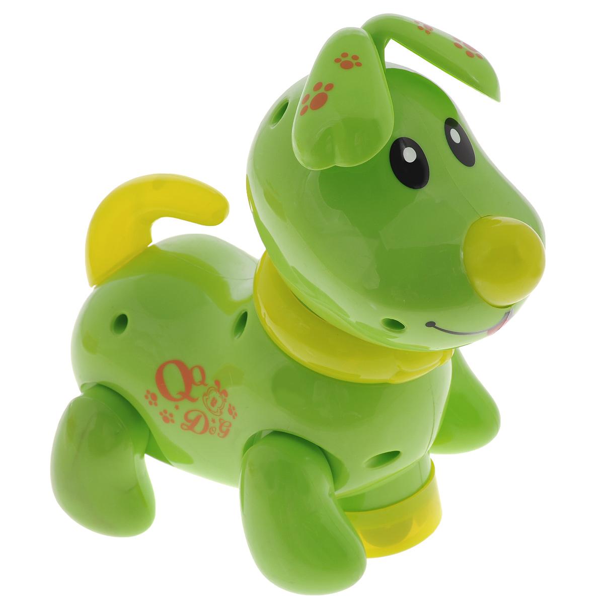 """Интерактивная игрушка Mioshi """"Щенок Рокки"""" обязательно поднимет настроение вашему малышу. Игрушка выполнена из прочного и безопасного материала в виде милого щенка. Щенок умеет так забавно вилять хвостиком и крутить головой в разные стороны. Благодаря встроенному датчику, при каждом движении песика активируются свето-звуковые эффекты: загораются ошейник и хвостик, а также звучит приятная для слуха мелодичная песенка. Игрушка стимулирует развитие зрительного, слухового и тактильного восприятия ребенка. Порадуйте своего ребенка такой забавной игрушкой. Необходимо купить 3 батарейки напряжением 1,5V типа АА (не входят в комплект)."""