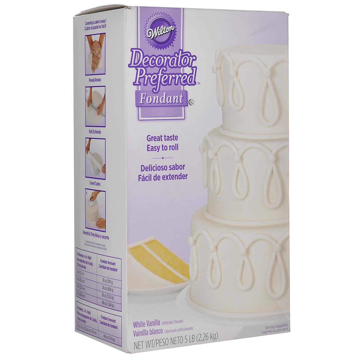 Декоративная мастика Wilton, цвет: белый, 2,3 кг0120710Декоративная мастика Wilton позволит создать прекрасные украшения для тортов. Оптимальное соотношение вкуса, текстуры и функциональности: содержит экстракт ванили, кремовая эластичная структура, яркая цветовая гамма. С помощью мастики можно ровно покрыть торт, создавать 3D украшения, которые хорошо держат свою форму. Приятный аромат ванили понравится вашим гостям! С этой вкусной сахарной мастикой вы сможете легко создавать прекрасные украшения для тортов. Состав: сахар, пшеничный сироп, пальмовое масло, глицерин, трагакант, крахмал тапиоки, карбоксиметил целлюлоза натрия (краситель), ацетат натрия, уксусная кислота. Масса нетто: 2,3 кг. Пищевая ценность на 100 г: жиры - 6 г, белок - 0 г, углеводы - 80 г, в т.ч. сахар - 80 г, натрий - 0 мг. Энергетическая ценность: 372 Ккал. Товар сертифицирован.