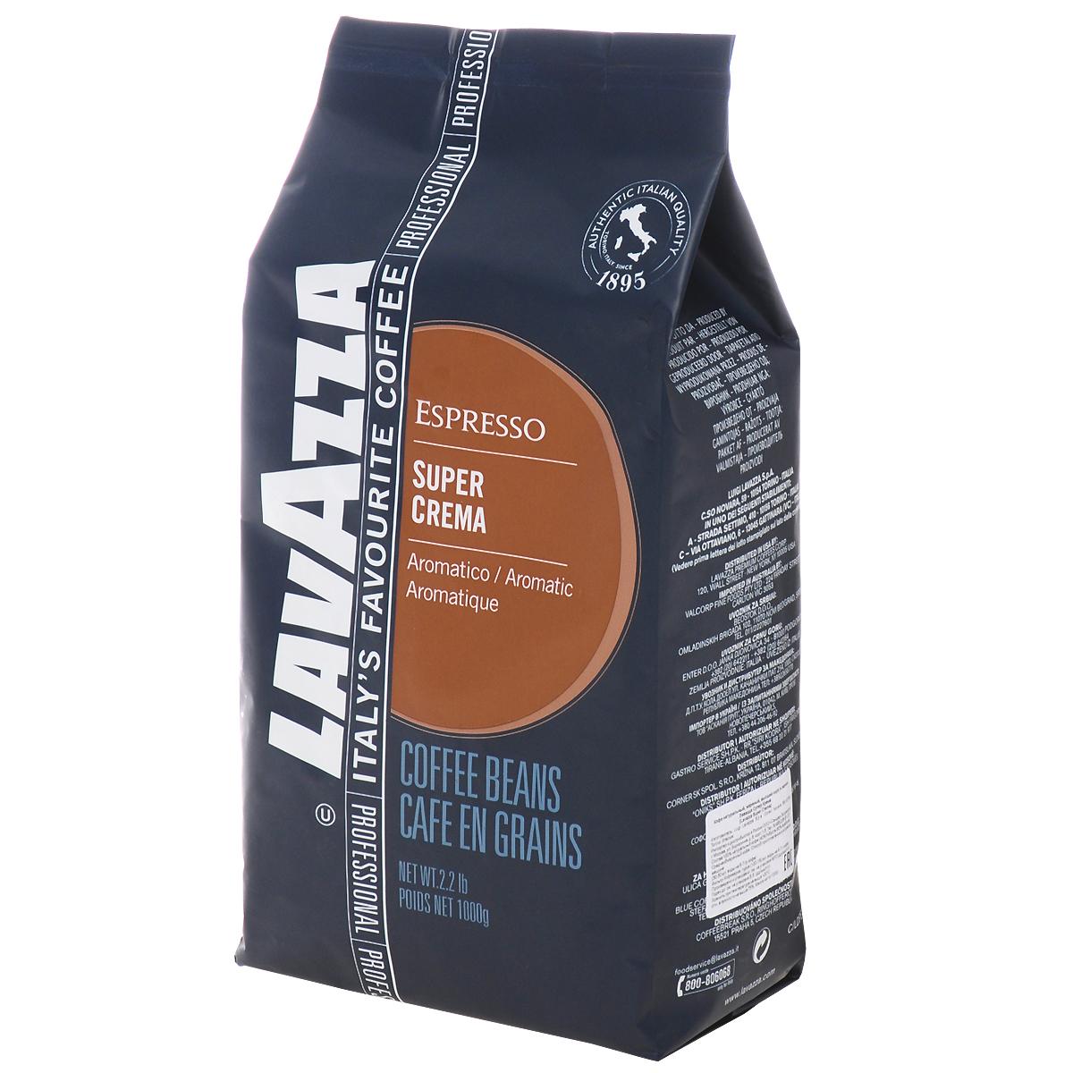 Lavazza Super Crema кофе в зернах, 1 кг0120710Бленд кофе Lavazza Super Crema с бархатистой пенкой и стойким ароматом меда и миндаля для легкого и сливочного кофе эспрессо.