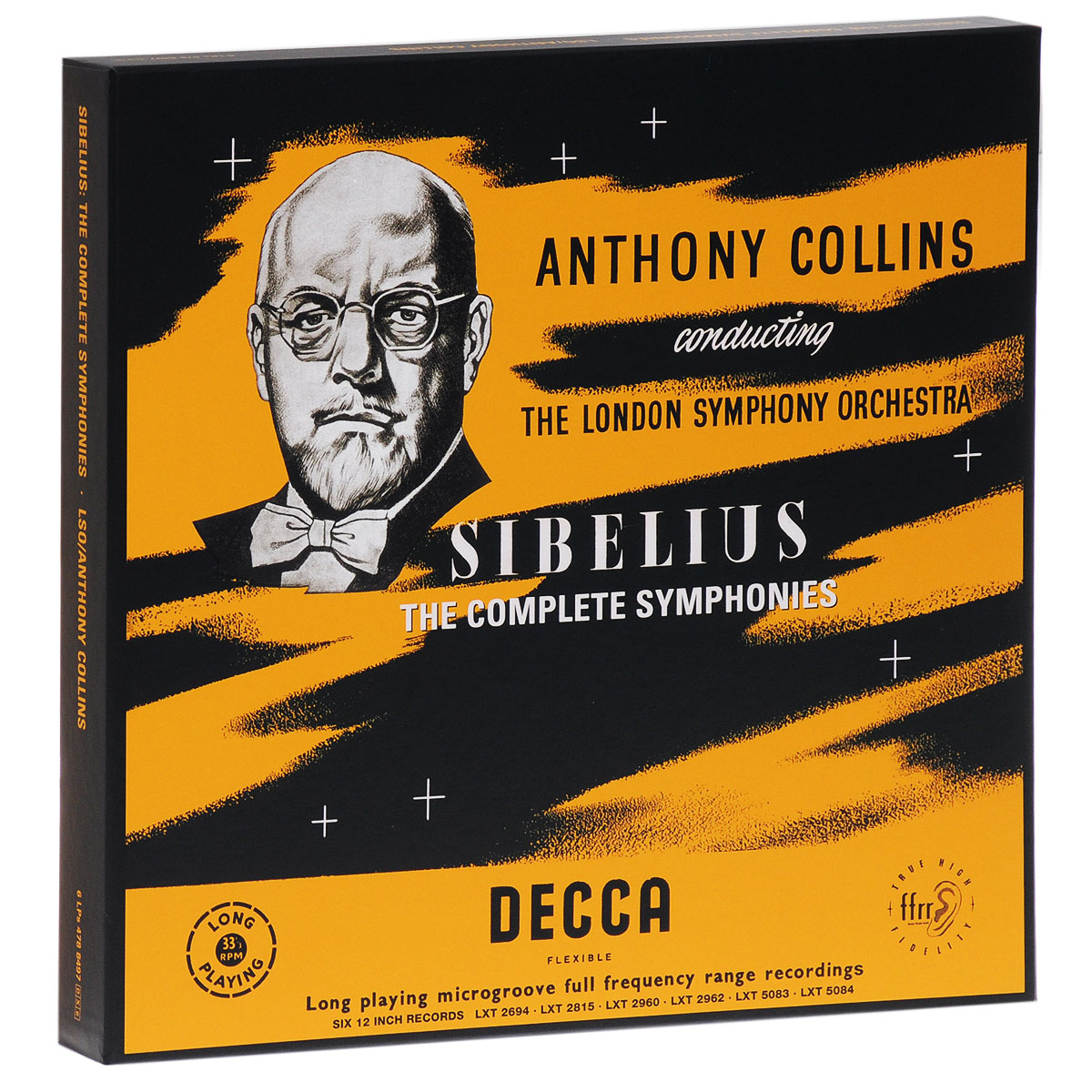Содержание: Jean Sibelius Anthony Collins The London Symphony OrchestraLP 1: Anthony Collins. Sibelius. Symphony No. 1 In E Minor Opus 39  LP 1 - Side 1Symphony No 1 in E minor, op.391. I. Andante ma non troppo - Allegro energico2. II. Andante (ma non troppo lento)  LP 1 - Side 2   1. III. Scherzo: Allegro 2. IV. Finale (quasi una fantasia)LP 2: Anthony Collins. Sibelius. Symphony No. 2 In D Major, Opus 43 LP 2 - Side 1Symphony No.2 in D major, op.4301. I. Allegretto - Poco allegro - Tranquillo, ma poco a poco ravvivando il tempo all'allegro 02. II. Tempo andante ma rubato - Andante sostenuto  LP 2 - Side 2   01. III. Vivacissimo - Lento e soave - Largamente 02. IV. Finale: Allegro moderato LP 3: Anthony Collins. Sibelius. Symphony No.3 In С Major, Opus 52 / Symphony No.7 In С Major, Opus 105  LP 3 - Side 1Symphony No.3 in С major, op.5201. I. Allegro moderato 02. II. Andantino con moto, quasi allegretto 03. III. Moderato - Allegro (ma non tanto)  LP 3 - Side 2   01. Symphony No.7 in С major, op.105 LP 4: Anthony Collins. Sibelius. Symphony No 4 In A Minor, Opus 63 / Pohjola's Daughter. Symphonic Fantasia, Opus 49  LP 4 - Side 1   Symphony No 4 in A minor, op.6301. I. Tempo molto moderato, quasi adagio02. II. Allegro molto vivace03. III. II tempo largo LP 4 - Side 2   01. IV. Allegro02. Pohjola's Daughter, оp.49LP 5: Anthony Collins. Sibelius. Symphony No.5 In E Flat Major, Opus 82 / Night Ride And Sunrise-Symphonic Poem, Opus 49  LP 5 - Side 1   Symphony No.5 in E flat major, op.8201. I. Tempo molto moderato - Largamente-Allegro moderato 02. II. Andante mosso, quasi allegretto  LP 5 - Side 2   01. III. Allegro molto02. Night Ride and Sunrise, op.55LP 6: Anthony Collins. Sibelius. Symphony No.6 In D Minor, Opus 104 / Pelleas Et Melisande Suite Opus 46  LP 6 - Side 1   Symphony No.6 in D minor, op. 10401. I. Allegro molto moderato02. II. Allegretto moderato03. III. Poco vivace LP 6 - Side 2   01. IV Allegro moltoPelleas et Melisande, op.46 - Suite02. II. Melisande03. VII. Melisande at the Spinning-wheel 04. VIII. Entr'acte 05. IX. The Death of Melisande