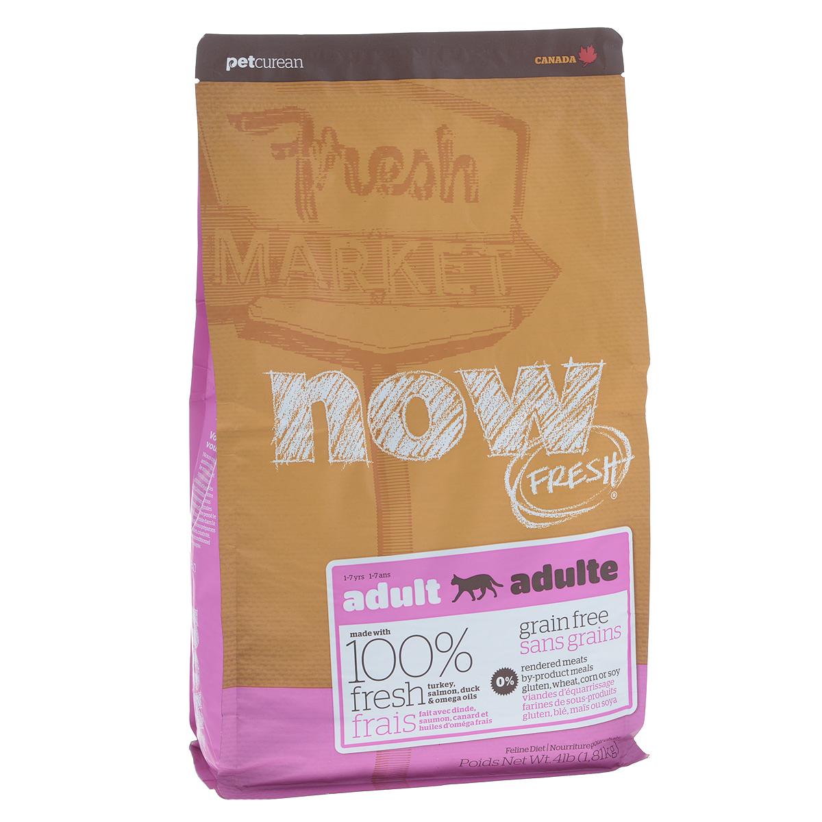 Корм сухой Now Fresh для взрослых кошек, беззерновой, с индейкой, уткой и овощами, 1,81 кг0120710Now Fresh - полностью сбалансированный холистик корм из свежего филе индейки и утки, выращенных на канадских фермах. При производстве кормов используется только свежее мясо индейки, утки, лосося, кокосовое и рапсовое масло. Это первый беззерновой корм со сбалансированным содержание белков и жиров. Ключевые преимущества: - полностью беззерновой,- не содержит субпродуктов, красителей, говядины, мясных ингредиентов, выращенных на гормонах, - оптимальное соотношение белков и жиров помогает кошкам оставаться здоровыми и сохранять отличную форму,- докозагексаеновая кислота (DHA) и эйкозапентаеновая кислота (EPA) необходима для нормальной деятельности мозга и здорового зрения,- пробиотики и пребиотики обеспечивают здоровое пищеварение,- таурин необходим для здоровья глаз и нормального функционирования сердечной мышцы,- омега-масла в составе необходимы для здоровой кожи и шерсти,- антиоксиданты укрепляют иммунную систему. Состав: филе индейки, картофель, горох, свежие цельные яйца, томаты, масло канолы (источник витамина Е), семена льна, натуральный ароматизатор, филе лосося, утиное филе, кокосовое масло (источник витамина Е), яблоки, морковь, тыква, бананы, черника, клюква, малина, ежевика, папайя, ананас, грейпфрут, чечевица, брокколи, шпинат, творог, ростки люцерны, дикальций фосфат, люцерна, карбонат кальция, фосфорная кислота, натрия хлорид, лецитин, хлорид калия, DL-метионин, таурин, витамины (витамин Е, L-аскорбил-2-полифосфатов (источник витамина С), никотиновая кислота, инозит, витамин А, тиамин, амононитрат, пантотенат D-кальция, пиридоксинагидрохлорид, рибофлавин, бета-каротин, витамин D3, фолиевая кислота, биотин, витаминВ12), минералы (протеинат цинка, сульфат железа, оксид цинка, протеинат железа, сульфат меди, протеинат меди, протеинат марганца, оксид марганца, йодат кальция, селенит натрия), сушеные водоросли, L-лизин, сухой корень цикория, Lactobacillus, Enteroc