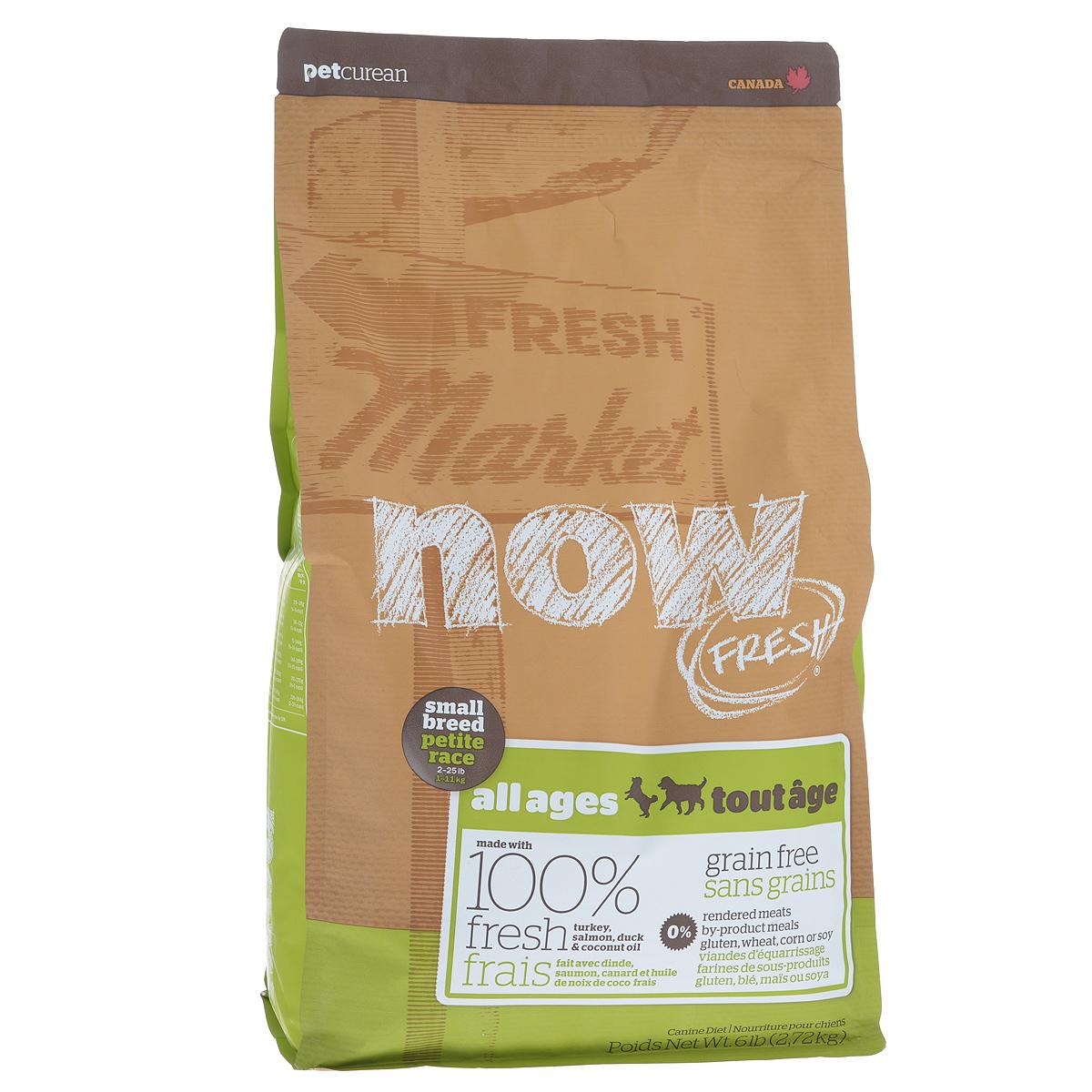 Корм сухой Now Fresh для малых пород собак всех возрастов, беззерновой, с индейкой, уткой и овощами, 2,72 кг0120710Now Fresh - полностью сбалансированный холистик корм из свежего филе индейки и утки, выращенных на канадских фермах. Рекомендован для малых пород всех возрастов: для щенков, для взрослых и для активных собак, и для пожилых собак. Это первый беззерновой корм со сбалансированным содержание белков и жиров. Ключевые преимущества: - не содержит субпродуктов, красителей, говядины, мясных ингредиентов, выращенных на гормонах, - гранулы благодаря своей форме бережно очищают зубы, люцерна в составе корма освежает дыхание, - пробиотики и пребиотики обеспечивают здоровое пищеварение, - маленький размер гранул способствует лучшему захвату корма, - докозагексаеновая кислота (DHA) и эйкозапентаеновая кислота (EPA) необходима для нормальной деятельности мозга и здорового зрения, - омега-масла в составе необходимы для здоровой кожи и шерсти, - антиоксиданты укрепляют иммунную систему. Состав: филе индейки, картофель, свежие цельные яйца, горох, льняное семя, яблоки, масло канолы (источник витамина Е), натуральный ароматизатор, утиное филе, филе лосося, кокосовое масло (источник витамина Е), томаты, сушеная люцерна, морковь, тыква, бананы, черника, клюква, малина, ежевика, папайя, ананас, грейпфрут, чечевица, брокколи, шпинат, творог, ростки люцерны, сушеные водоросли, карбонат кальция, дикальций фосфат, лецитин, триполифосфата натрия, хлорид натрия, хлористый калий, витамины (витамин Е, L-аскорбил-2-полифосфатов (источник витамина С), никотиновая кислота, инозит, витамин А, тиамина мононитрат, пантотенатD-кальция, пиридоксина гидрохлорид, рибофлавин, бета-каротин, витамин D3, фолиевая кислота, биотин, витамин В12), минералы (цинка протеинат, сульфат железа, оксид цинка, железа протеинат, сульфат меди, меди протеинат, марганца протеинат, оксид марганца, йодат кальция, селена, дрожжи), таурин, DL-метионин, L-лизин, экстракт водорослей, высушенный корень цикория, Lactobac