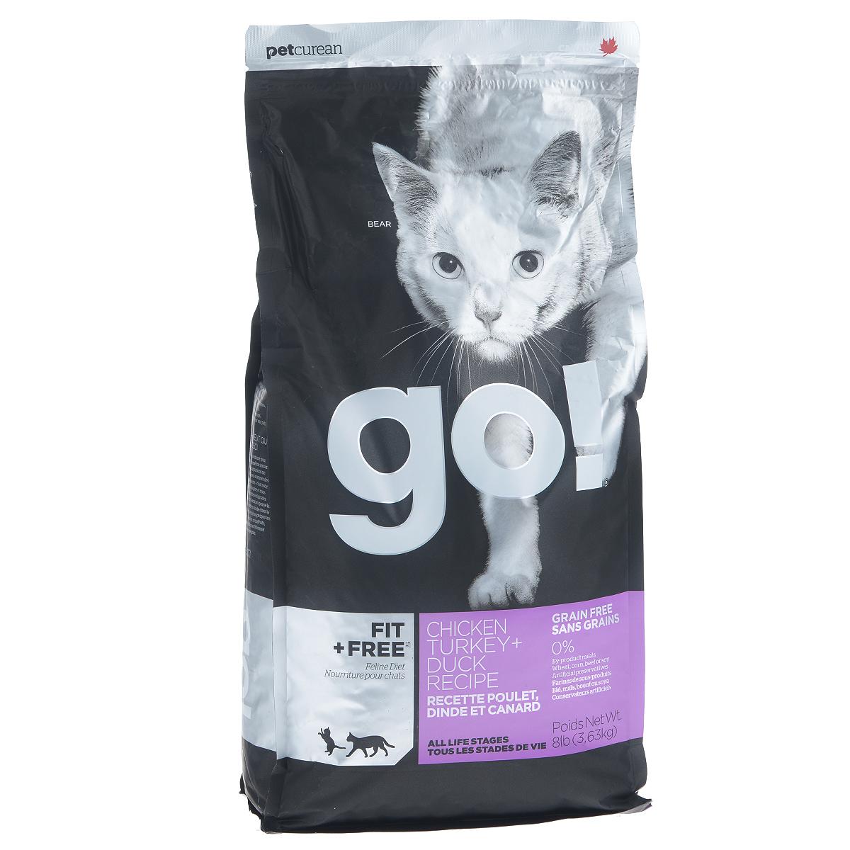 Корм сухой Go! для кошек и котят, беззерновой, с курицей, индейкой, уткой и лососем, 3,63 кг0120710Беззерновой сухой корм Go! для котят и кошек - это корм со сбалансированным содержание белков и жиров. Ключевые преимущества:- Полностью беззерновой,- Небольшое количество углеводов гарантирует поддержание оптимального веса кошки,- Пробиотики и пребиотики обеспечивают здоровое пищеварение,- Не содержит субпродуктов, красителей, говядины, мясных ингредиентов, выращенных на гормонах,- Таурин необходим для здоровья глаз и нормального функционирования сердечной мышцы,- Докозагексаеновая кислота (DHA) и эйкозапентаеновая кислота (EPA) необходима для нормальной деятельности мозга и здорового зрения,- Омега-масла в составе необходимы для здоровой кожи и шерсти,- Антиоксиданты укрепляют иммунную систему.Состав: свежее мясо курицы, филе курицы, филе индейки, утиное филе, свежее мясо индейки, свежее мясо лосося, филе форели, куриный жир (источник витамина Е), натуральный рыбный ароматизатор, горошек, картофель, свежие цельные яйца, картофельная мука, тапиока, филе лосося, филе утки, масло лосося, тыква, яблоки, морковь, бананы, черника, клюква, чечевица, брокколи, шпинат, творог, люцерна, сладкий картофель, ежевика, папайя, ананас, фосфорная кислота, хлорид натрия, хлорид калия, DL-метионин, таурин, холин хлорид, сушеный корень цикория, Lactobacillus, Enterococcusfaecium, Aspergillus, витамины (витамин А , Витамин D3, витамин Е, никотиновая кислота, инозит, L-аскорбил-2-полифосфатов (источник витамина С), тиамина мононитрат, D-пантотенат кальция, рибофлавин, пиридоксин гидрохлорид, бета-каротин, фолиевая кислота, биотин, витамин В12), минералы (цинка протеинат, железа протеинат, меди протеинат, оксид цинка, марганца протеинат, сульфат меди, йодат кальция, сульфат железа, оксид марганца, селенит натрия), экстракт юкка Шидигера, дрожжевой экстракт, сушеный розмарин.Гарантированный анализ: белки 46%, жиры 18%, клетчатка 1,5%, влажность (max) 10%, зола (max) 9%, фосфор 1,1%, магний 
