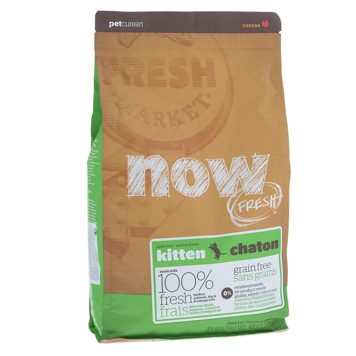 Корм сухой Now Fresh для котят, беззерновой, с индейкой, уткой и овощами, 1,81 кг0120710Now Fresh - полностью сбалансированный холистик корм для котят с 5 недели до 1 года из свежего филе индейки, лосося и утки, выращенных на канадских фермах.Также корм подходит беременным и кормящим кошкам. При производстве кормов используется только свежее мясо индейки, утки, лосося, кокосовое и рапсовое масло.Ключевые преимущества: - полностью беззерновой, - не содержит субпродуктов, красителей, говядины, мясных ингредиентов, выращенных на гормонах, - наличие всех питательных компонентов для правильного развития костей и суставов,- оптимальное соотношение белков и жиров помогает кошек оставаться здоровым и сохранять отличную форму, - докозагексаеновая кислота (DHA) и эйкозапентаеновая кислота (EPA) необходима для нормальной деятельности мозга и здорового зрения, - пробиотики и пребиотики обеспечивают здоровое пищеварение, - таурин необходим для здоровья глаз и нормального функционирования сердечной мышцы, - омега-масла в составе необходимы для здоровой кожи и шерсти, - антиоксиданты укрепляют иммунную систему,- профилактика образования комочков шерсти в желудке. Состав: филе индейки, картофель, горох, свежие цельные яйца, картофельная мука, томаты, семена льна, яблоки, филе лосося, утиное филе, масло канолы (источник витамина Е), люцерна, натуральный ароматизатор, кокосовое масло (источник витамина Е), лецитин, морковь, тыква, бананы, черника, клюква, ежевика, папайя, ананас, грейпфрут, чечевица, брокколи, шпинат, творог, ростки люцерны, дикальций фосфат, вяленых люцерна, сушеные водоросли, карбонат кальция, фосфорная кислота, хлорид натрия, лецитин, хлорид калия, DL-метионин, таурин, сушеные водоросли, витамины (витамин Е, L-аскорбил-2-полифосфатов (источник витамина С), никотиновая кислота, инозит, витамин А, мононитрат тиамина, D-пантотенат кальция, пиридоксина гидрохлорид, рибофлавин, бета-каротин, витамин D3, фолиевая кислота, биотин, витамин В12), минералы (протеинат цинка,