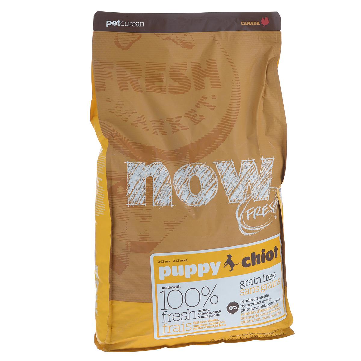 Корм сухой Now Fresh для щенков, беззерновой, с индейкой, уткой и овощами, 5,44 кг0120710Now Fresh - полностью сбалансированный холистик корм для щенков всех пород из филе индейки, утки и лосося.Это первый беззерновой корм со сбалансированным содержание белков и жиров.Ключевые преимущества: - не содержит субпродуктов, красителей, говядины, мясных ингредиентов, выращенных на гормонах, - омега-масла в составе необходимы для здоровой кожи и шерсти, - пробиотики и пребиотики обеспечивают здоровое пищеварение, - антиоксиданты укрепляют иммунную систему. Состав: филе индейки, картофель, горох, свежие цельные яйца, томаты, масло канолы (источник витамина Е), семена льна, натуральный ароматизатор, филе лосося, утиное филе, кокосовое масло (источник витамина Е), яблоки, морковь, тыква, бананы, черника, клюква, малина, ежевика, папайя, ананас, грейпфрут, чечевица, брокколи, шпинат, творог, ростки люцерны, дикальций фосфат, люцерна, карбонат кальция, фосфорная кислота, натрия хлорид, лецитин, хлорид калия, DL-метионин, таурин, витамины (витамин Е, L-аскорбил-2-полифосфатов (источник витамина С), никотиновая кислота, инозит, витамин А, тиамин, амононитрат, пантотенат D-кальция, пиридоксинагидрохлорид, рибофлавин, бета-каротин, витамин D3, фолиевая кислота, биотин, витаминВ12), минералы (протеинат цинка, сульфат железа, оксид цинка, протеинат железа, сульфат меди, протеинат меди, протеинат марганца, оксид марганца, йодат кальция, селенит натрия), сушеные водоросли, L-лизин, сухой корень цикория, Lactobacillus, Enterococcusfaecium, Aspergillus, экстракт Юкки Шидигера, L-карнитин, ноготки, сушеный розмарин. Гарантированный анализ: белки - 28%, жиры - 18%, клетчатка - 3%, влажность - 10%, кальций - 1,2%, фосфор - 0,8%, докозагексаеновая кислота (DHA) - 0,02%, эйкозапентаеновая кислота (EPA) - 0,02%, жирные кислоты Омега 6 - 2,7%, жирные кислоты Омега 3 - 0,54%, лактобактерии (Lactobacillus acidophilus, Enterococcus faecium) - 90000000 cfu/lb. Калорийность: 3746 ккал/кг.Вес: 5,44 кг
