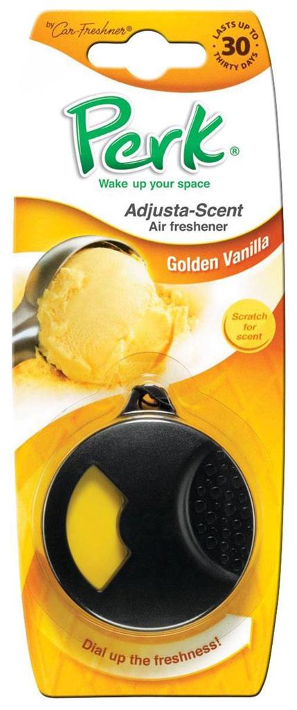 Ароматизатор подвесной с дозатором Perk Золотая ваниль (Golden Vanilla)ДА-18/2+Н550Подвесной ароматизатор Perk с дозатором уникален по эффективности действия, насыщенности и стойкости запаха. Подходит для использования в салоне автомобиля, а также в помещениях. 100% спрессованная целлюлоза, не токсичные отдушки
