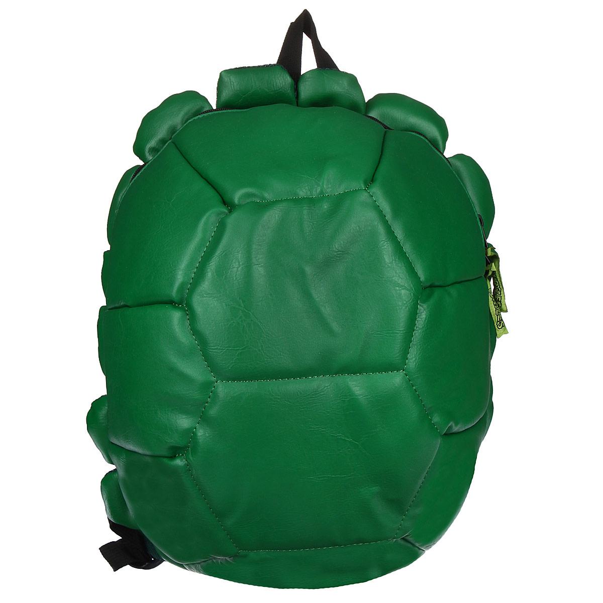 Рюкзак детский Teenage Mutant Ninja Turtles Черепашки Ниндзя, цвет: зеленый93451Рюкзак детский Teenage Mutant Ninja Turtles Черепашки Ниндзя непременно привлечет внимание вашего ребенка. Выполнен рюкзак из прочных материалов, зеленого цвета в виде панциря черепашки. В комплекте к рюкзаку прилагаются 4 повязки для глаз, чтобы быть похожими на героев мультфильма.Содержит одно вместительное отделение, закрывающееся на застежку-молнию с двумя бегунками. Внутри отделения находятся: три открытых кармана, три отделения для пишущих принадлежностей и кармашек на липучке для мобильного телефона.Конструкция спинки дополнена противоскользящей сеточкой и системой вентиляции для предотвращения запотевания спины ребенка. Широкие лямки позволяют легко и быстро отрегулировать рюкзак в соответствии с ростом. Рюкзак оснащен текстильной ручкой для переноски в руке. Ребенку обязательно понравится этот стильный аксессуар, который станет для него постоянным спутником.Рекомендуемый возраст: от 8 лет.