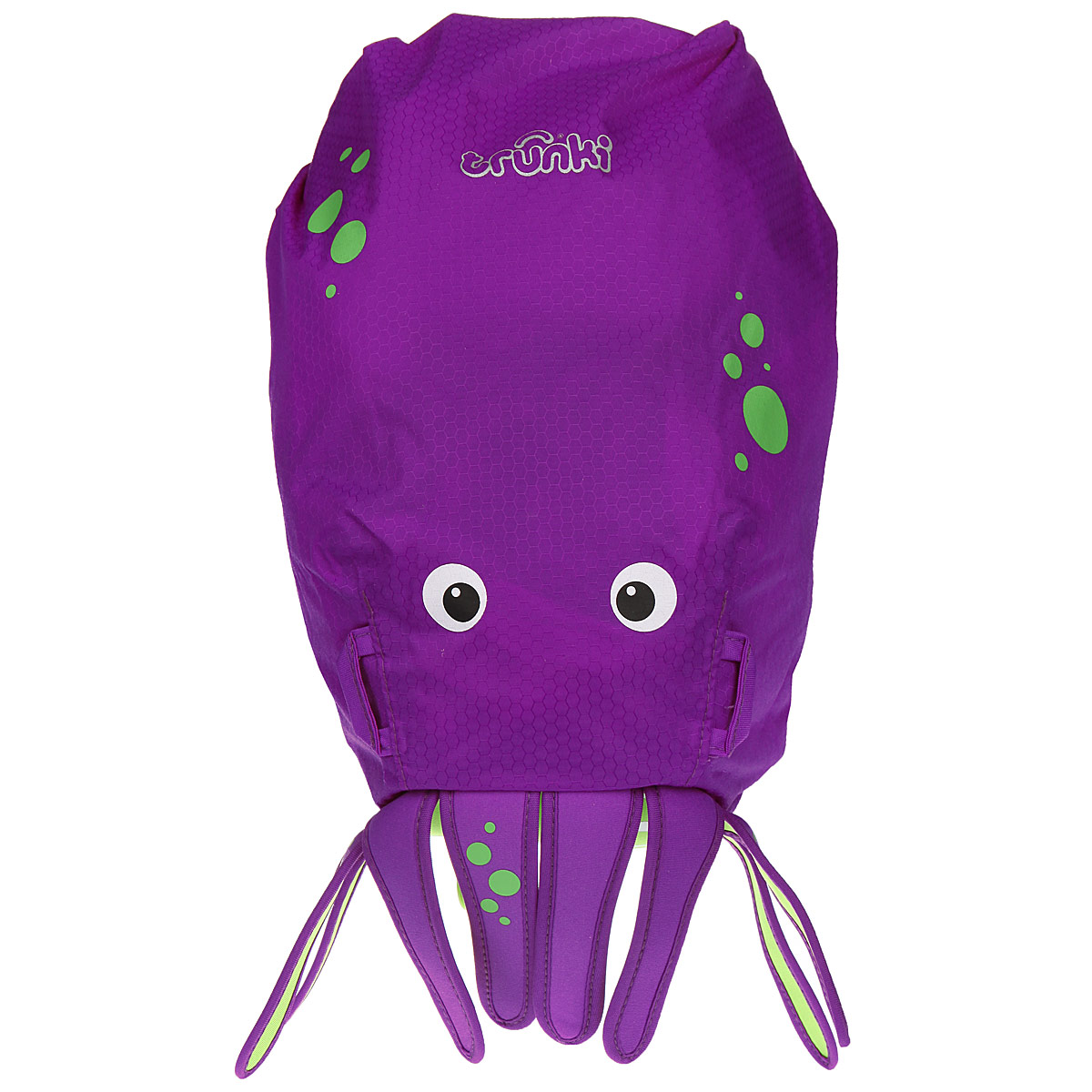 Детский рюкзак для бассейна и пляжа Trunki Осьминог, цвет: фиолетовый, салатовый, 7,5 л0114-GB01Детский рюкзак для бассейна и пляжа Trunki Осьминог - великолепный подарок для маленьких спортсменов и путешественников.Выполнен из прочного и водоотталкивающего материала в виде осьминога. Рюкзак состоит из вместительного отделения, закрывающегося с помощью скрутки, которая также сохранит содержимое и защитит от проникновения воды. Благодаря широкой горловине рюкзака в него очень удобно складывать вещи.Конструкция спинки дополнена противоскользящей сеточкой и системой вентиляции для предотвращения запотевания спины ребенка. Мягкие широкие лямки позволяют легко и быстро отрегулировать рюкзак в соответствии с ростом. На правой лямке рюкзака предусмотрено специальное крепление Trunki grip, с помощью которого можно подвесить детские солнцезащитные очки. Рюкзак оснащен петлей для подвешивания. Также имеет светоотражающие элементы и карман в нижней части рюкзака, куда можно положить различные мелочи.Рюкзак Trunki Осьминог прекрасно подойдет для походов в бассейн и на пляж, поездок, занятий спортом. Ребенку непременно понравится этот яркий стильный аксессуар, который станет для него постоянным спутником.Рекомендуемый возраст: от 3 лет.