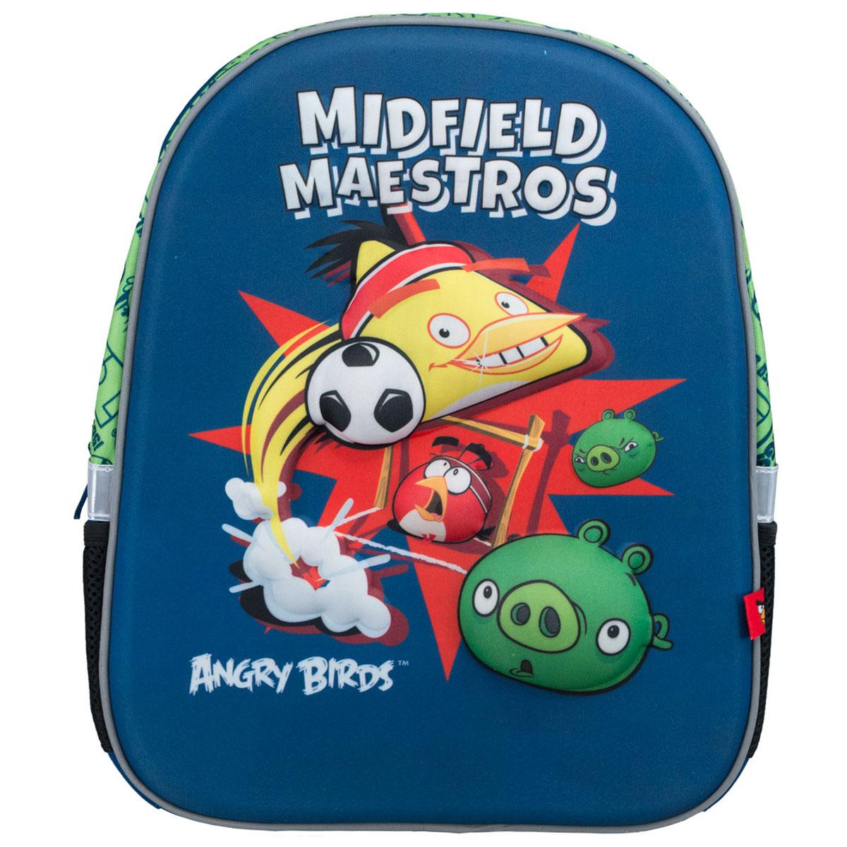 Рюкзак Angry Birds, цвет: синий, салатовый, черныйABCB-UT1-E140Яркий рюкзак Angry Birds обязательно понравится вашему ребенку. Выполнен из прочного материала и оформлен изображениями героев из популярной компьютерной игры Злые птицы (Angry Birds).Содержит рюкзак одно вместительное отделение, закрывающееся на застежку-молнию. Внутри отделения находятся две мягкие перегородки для тетрадей или учебников. Лицевая стенка достаточно твердая, что позволяет не деформироваться рюкзаку. Рюкзак имеет два боковых кармана-сетка, стянутых сверху резинкой. Оснащен плечевыми ремнями и мягкой текстильной ручкой для переноски в руке.Широкие мягкие лямки регулируются по длине и равномерно распределяют нагрузку на плечевой пояс.