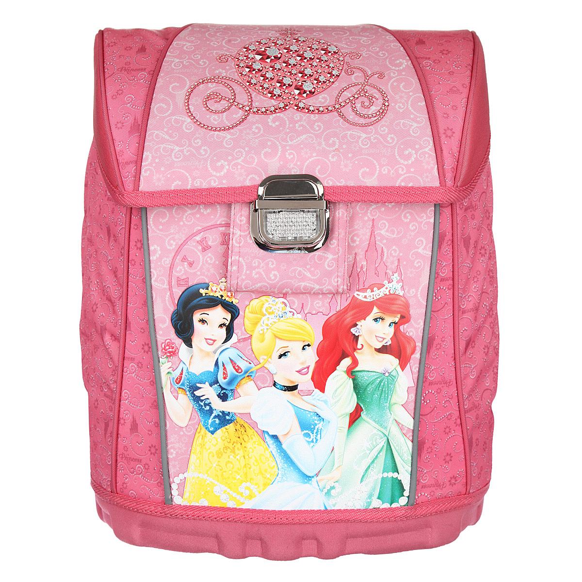 Ранец школьный Disney Princess, цвет: розовый, светло-розовый. 249023905/TG_серыйРанец школьный Disney Princess обязательно привлечет внимание вашей школьницы.Он выполнен из прочного и водонепроницаемого материла розового, светло-розового цветов и оформлен изображением прекрасных принцесс.Содержит одно вместительное отделение, закрывающееся клапаном на замок-защелку. На внутренней части клапана находится прозрачный пластиковый кармашек, в который можно поместить данные о владельце. Внутри отделения имеются две мягкие перегородки для тетрадей или учебников, фиксирующиеся хлястиком на липучке. Одну из перегородок можно использовать для гаджетов. Также внутри отделения имеется брелок для ключей. Клапан полностью откидывается, что существенно облегчает пользование ранцем. Ранец имеет два боковых вертикальных кармана на молнии. Прочный каркас дна и боковых стенок ранца надежно защищает наполнение ранца от механических повреждений. Ортопедическая спинка равномерно распределяет нагрузку на плечевые суставы и спину. Конструкция спинки дополнена эргономичными подушечками, противоскользящей сеточкой и системой вентиляции для предотвращения запотевания спины ребенка. Мягкие широкие лямки позволяют легко и быстро отрегулировать рюкзак в соответствии с ростом. Ранец оснащен эргономичной ручкой для удобной переноски в руке. Благодаря прочному высокому дну ранец хорошо устойчив и защищен от загрязнений. Светоотражающие элементы обеспечивают дополнительную безопасность в темное время суток.Многофункциональный школьный ранец станет незаменимым спутником вашего ребенка в походах за знаниями.Вес ранца без наполнения: 1 кг.Рекомендуемый возраст: от 7 лет.