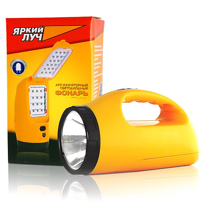 Фонарь кемпинговый Яркий Луч LA-1WKOC-H19-LEDОписание: Аккумуляторный светодиодный многофункциональный фонарь Количество ламп: 1 светодиод 1Вт, 12+18 LED. 150 лм.Питание: аккумулятор кислотно-свинцовый 4В, 1.4АчМатериал корпуса: ABS пластикРазмеры: 180 x 100 мм (длина х диаметр) Дополнительно: 3 режима работы: «прожектор» - 1Вт светодиод (4,5 часа работы) дальность луча до 100м.; «кемпинг 1» - 18 светодиодов (до 13 часов работы); «кемпинг 2» - 30 светодиодов (до 9 часов работы). Зарядноу устройство 220В. Функция аварийного освещения - при отключении напряжения сети фонарь включится автоматически. Встроенная защита от перезаряда и полного разряда аккумулятора. Влагозащитная конструкция.