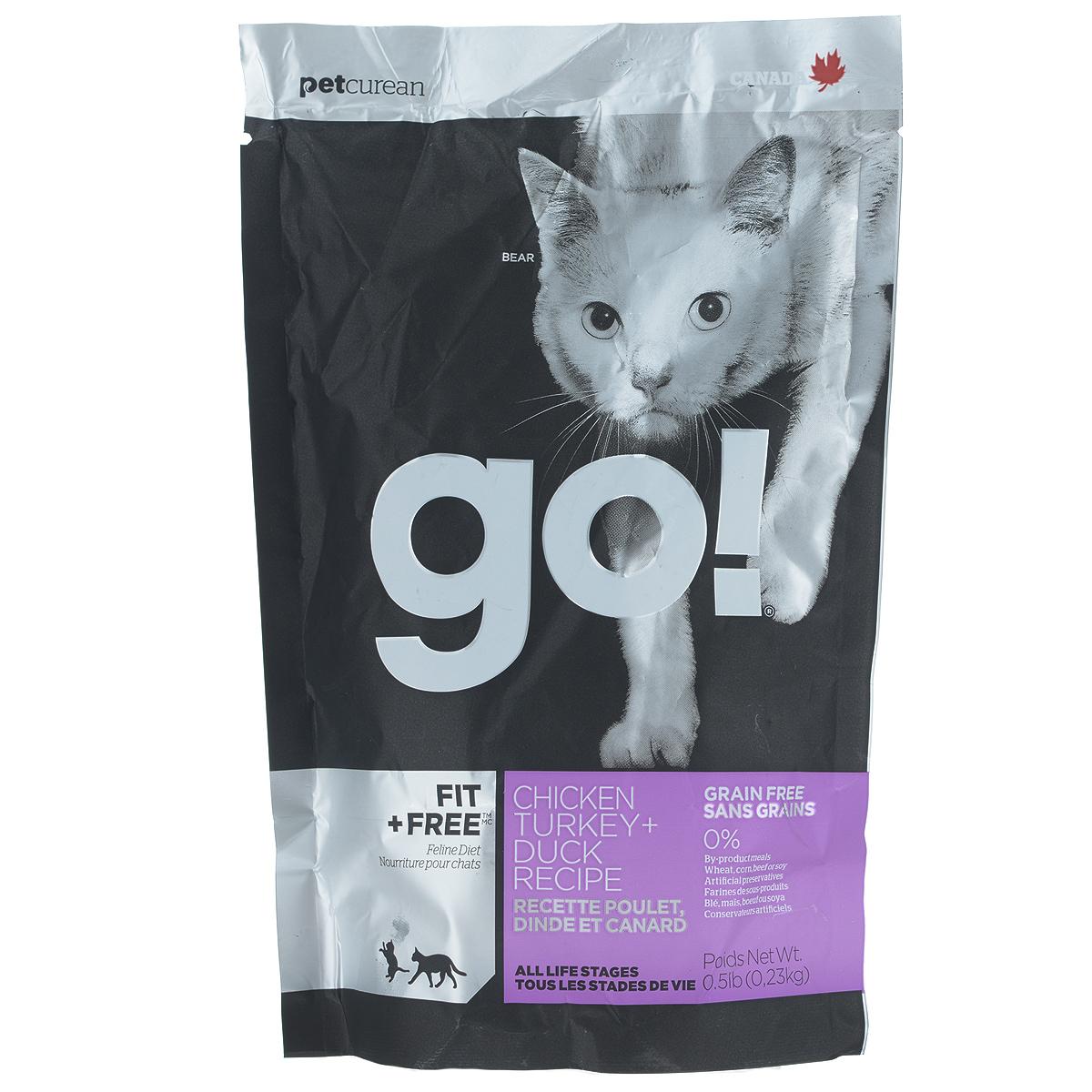 Корм сухой Go! для кошек и котят, беззерновой, с курицей, индейкой, уткой и лососем, 230 г0120710Беззерновой сухой корм Go! для котят и кошек - это корм со сбалансированным содержание белков и жиров. Ключевые преимущества:- Полностью беззерновой,- Небольшое количество углеводов гарантирует поддержание оптимального веса кошки,- Пробиотики и пребиотики обеспечивают здоровое пищеварение,- Не содержит субпродуктов, красителей, говядины, мясных ингредиентов, выращенных на гормонах,- Таурин необходим для здоровья глаз и нормального функционирования сердечной мышцы,- Докозагексаеновая кислота (DHA) и эйкозапентаеновая кислота (EPA) необходима для нормальной деятельности мозга и здорового зрения,- Омега-масла в составе необходимы для здоровой кожи и шерсти,- Антиоксиданты укрепляют иммунную систему.Состав: свежее мясо курицы, филе курицы, филе индейки, утиное филе, свежее мясо индейки, свежее мясо лосося, филе форели, куриный жир (источник витамина Е), натуральный рыбный ароматизатор, горошек, картофель, свежие цельные яйца, картофельная мука, тапиока, филе лосося, филе утки, масло лосося, тыква, яблоки, морковь, бананы, черника, клюква, чечевица, брокколи, шпинат, творог, люцерна, сладкий картофель, ежевика, папайя, ананас, фосфорная кислота, хлорид натрия, хлорид калия, DL-метионин, таурин, холин хлорид, сушеный корень цикория, Lactobacillus, Enterococcusfaecium, Aspergillus, витамины (витамин А , Витамин D3, витамин Е, никотиновая кислота, инозит, L-аскорбил-2-полифосфатов (источник витамина С), тиамина мононитрат, D-пантотенат кальция, рибофлавин, пиридоксин гидрохлорид, бета-каротин, фолиевая кислота, биотин, витамин В12), минералы (цинка протеинат, железа протеинат, меди протеинат, оксид цинка, марганца протеинат, сульфат меди, йодат кальция, сульфат железа, оксид марганца, селенит натрия), экстракт юкка Шидигера, дрожжевой экстракт, сушеный розмарин.Гарантированный анализ: белки 46%, жиры 18%, клетчатка 1,5%, влажность (max) 10%, зола (max) 9%, фосфор 1,1%, магний 0,