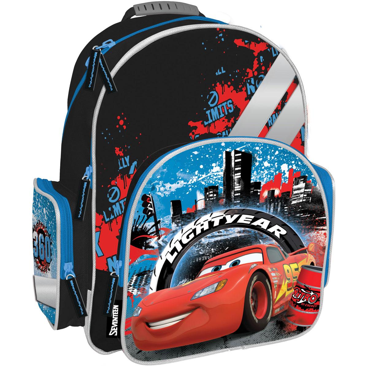 Рюкзак школьный Cars, цвет: черный, голубой, красный. CRCB-MT1-962172523WDРюкзак Cars обязательно понравится вашему школьнику. Выполнен из прочных и высококачественных материалов, дополнен изображением героя из известного мультфильма Тачки.Содержит два вместительных отделения, закрывающиеся на застежки-молнии. В большом отделении находятся две перегородки для тетрадей или учебников. Лицевая сторона оснащена накладным карманом на молнии. По бокам расположены два накладных кармана: на застежке-молнии и открытый, стянутый сверху резинкой. Специально разработанная архитектура спинки со стабилизирующими набивными элементами повторяет естественный изгиб позвоночника. Набивные элементы обеспечивают вентиляцию спины ребенка. Плечевые лямки анатомической формы равномерно распределяют нагрузку на плечевую и воротниковую зоны. Конструкция пряжки лямок позволяет отрегулировать рюкзак по фигуре. Рюкзак оснащен эргономичной ручкой для удобной переноски в руке. Светоотражающие элементы обеспечивают безопасность в темное время суток.Многофункциональный школьный рюкзак станет незаменимым спутником вашего ребенка в походах за знаниями.Вес рюкзака без наполнения: 700 г.Рекомендуемый возраст: от 12 лет.