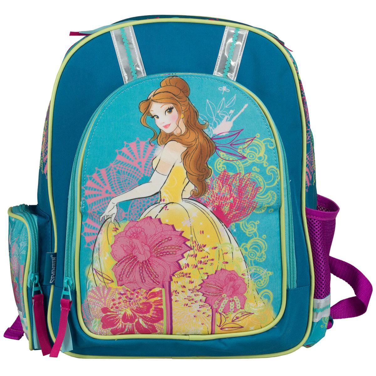 Рюкзак школьный Disney Princess, цвет: сиреневый, бирюзовый. PRCB-RT2-836M72523WDРюкзак школьный Disney Princess обязательно понравится вашей школьнице. Выполнен из прочных и высококачественных материалов, дополнен изображением прекрасной принцессы.Содержит одно вместительное отделение, закрывающееся на застежку-молнию. Внутри отделения находятся две перегородки для тетрадей или учебников, а также открытый карман-сетка. Лицевая сторона оснащена накладным карманом на молнии. Перекидная магнитная панель на лицевой стороне позволяет менять дизайн рюкзака. По бокам расположены два накладных кармана: на застежке-молнии и открытый, стянутый сверху резинкой. Специально разработанная архитектура спинки со стабилизирующими набивными элементами повторяет естественный изгиб позвоночника. Набивные элементы обеспечивают вентиляцию спины ребенка. Плечевые лямки анатомической формы равномерно распределяют нагрузку на плечевую и воротниковую зоны. Конструкция пряжки лямок позволяет отрегулировать рюкзак по фигуре. Рюкзак оснащен эргономичной ручкой для удобной переноски в руке. Светоотражающие элементы обеспечивают безопасность в темное время суток.Многофункциональный школьный рюкзак станет незаменимым спутником вашего ребенка в походах за знаниями.Вес рюкзака без наполнения: 700 г.Рекомендуемый возраст: от 7 лет.