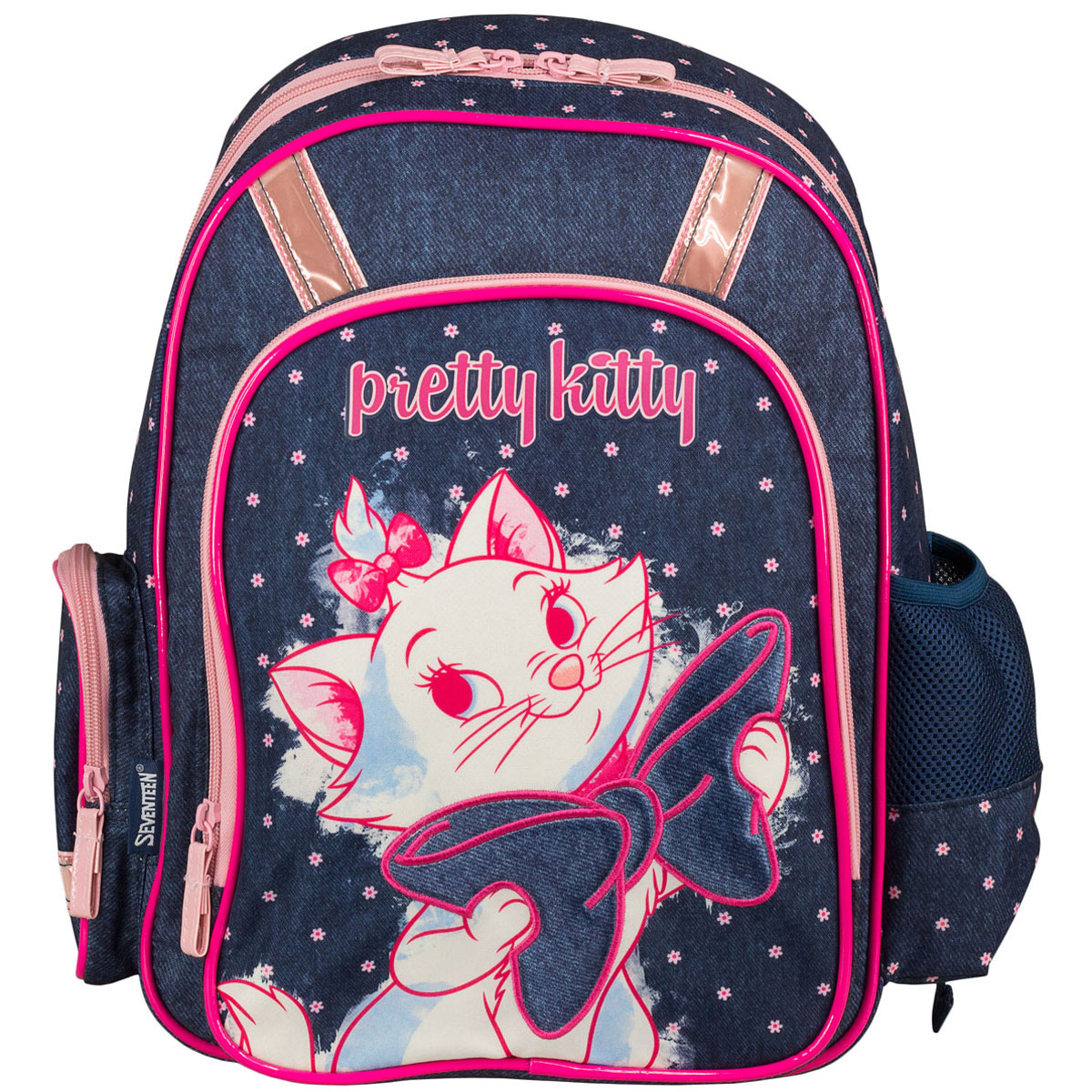 Рюкзак школьный Marie Cat, цвет: темно-синий, розовый. MCCB-UT1-83686825Стильный школьный рюкзак Marie Cat обязательно понравится вашей школьнице. Выполнен из прочных и высококачественных материалов, дополнен изображением милой кошечки с бантиком.Содержит одно вместительное отделение, закрывающееся на застежку-молнию с двумя бегунками. Внутри отделения находятся две перегородки для тетрадей или учебников, а также открытый карман-сетка. Дно рюкзака можно сделатьжестким, разложив специальную панель с пластиковой вставкой, что повышает сохранность содержимого рюкзака и способствует правильному распределению нагрузки. Лицевая сторона оснащена накладным карманом на молнии. По бокам расположены два накладных кармана: на застежке-молнии и открытый, стянутый сверху резинкой. Специально разработанная архитектура спинки со стабилизирующими набивными элементами повторяет естественный изгиб позвоночника. Набивные элементы обеспечивают вентиляцию спины ребенка. Плечевые лямки анатомической формы равномерно распределяют нагрузку на плечевую и воротниковую зоны. Конструкция пряжки лямок позволяет отрегулировать рюкзак по фигуре. Рюкзак оснащен эргономичной ручкой для удобной переноски в руке. Светоотражающие элементы обеспечивают безопасность в темное время суток.Многофункциональный школьный рюкзак станет незаменимым спутником вашего ребенка в походах за знаниями.Вес рюкзака без наполнения: 700 г.Рекомендуемый возраст: от 7 лет.