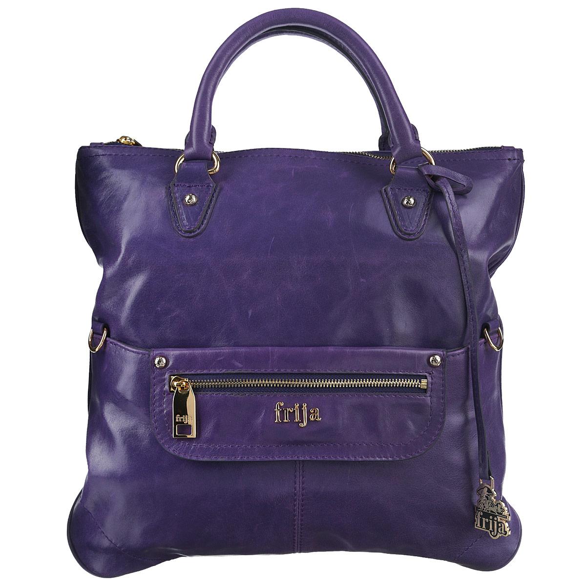 Сумка женская Frija, цвет: фиолетовый. 21-0120-1323008Стильная женская сумка Frija выполнена из натуральной кожи в классическом стиле. Внутри сумки одно основное отделение и один внутренний карман на молнии. Снаружи сумка закрывается на молнию. На передней стенке два кармана, один из них закрывается на магнитную кнопку, другой на молнию. На задней стенке хлястик с кнопкой для фиксации ручек, поэтому сумку можно носить как клатч. Высота ручек 9 см. Длина съемного плечевого ремня 130 см.В комплекте чехол для хранения.Роскошная сумка внесёт элегантные нотки в ваш образ и подчеркнёт ваше отменное чувство стиля.