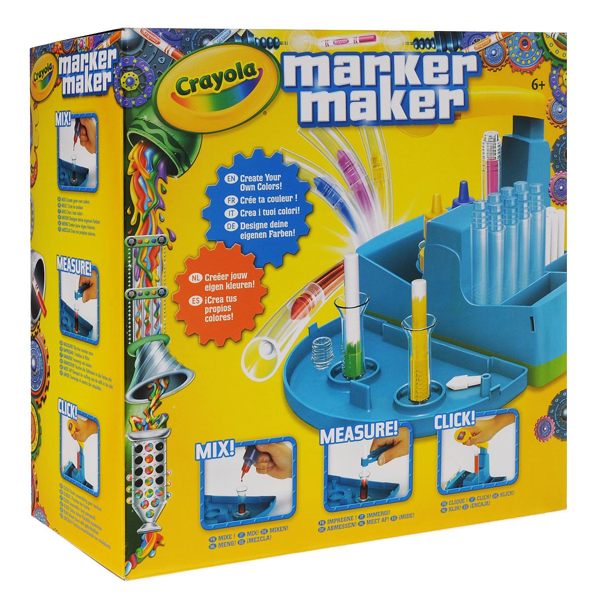 Набор для изготовления фломастеров Crayola Мастер-фломастер72523WDУникальный набор Crayola Мастер-фломастер представляет собой миниатюрную фабрику по производству фломастеров. Ваш ребенок собственными руками сможет создать фломастер с нужным ему цветом, а инструкция по смешиванию цветов, входящая в комплект, поможет ему в этом. Всего в наборе 16 комплектов деталей фломастеров. В них входит все необходимое для работы - корпусы, наконечники, заглушки, стрежни, колпачки и стикеры. Также в комплекте 3 баночки с чернилами, две колбы для смешивания, две колбы для хранения готовых фломастеров и пинцет. Рекомендуется для детей от 8 лет.