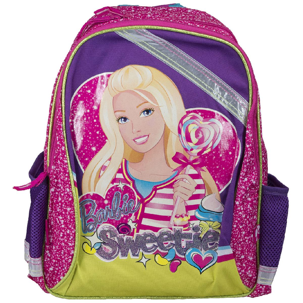 Рюкзак школьный Barbie Sweetie, цвет: розовый, фиолетовый. BRCB-MT1-97772523WDРюкзак школьный Barbie Sweetie обязательно понравится вашей школьнице. Выполнен из прочных и высококачественных материалов, дополнен изображением очаровательной Барби.Содержит два вместительных отделения, закрывающиеся на застежки-молнии. В большом отделении находится перегородка для тетрадей или учебников. Дно рюкзака можно сделать жестким, разложив специальную панель с пластиковой вставкой, что повышает сохранность содержимого рюкзака и способствует правильному распределению нагрузки. По бокам расположены два накладных кармана-сетка. Конструкция спинки дополнена противоскользящей сеточкой и системой вентиляции для предотвращения запотевания спины ребенка. Мягкие широкие лямки позволяют легко и быстро отрегулировать рюкзак в соответствии с ростом. Рюкзак оснащен эргономичной ручкой для удобной переноски в руке. Светоотражающие элементы обеспечивают безопасность в темное время суток.Такой школьный рюкзак станет незаменимым спутником вашего ребенка в походах за знаниями.Вес рюкзака без наполнения: 550 г.Рекомендуемый возраст: от 7 лет.