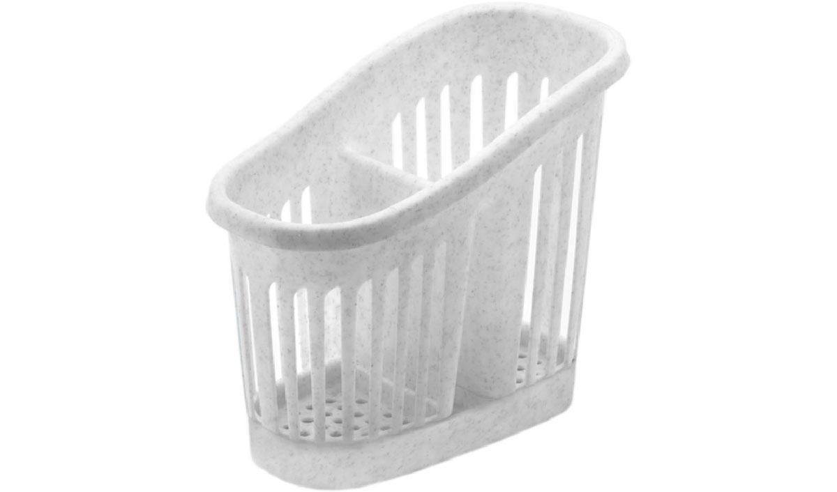 Подставка для столовых приборов Idea, цвет: мраморный. М 1165FD 992Подставка для столовых приборов Idea, выполненная из высококачественного пластика, станет полезным приобретением для вашей кухни. Подставка имеет два отделения для разных видов столовых приборов. Дно и стенки отделений имеет перфорацию для легкого стока жидкости, которую собирает поднос. Такая подставка поможет аккуратно рассортировать все столовые приборы и тем самым поддерживать порядок на кухне.