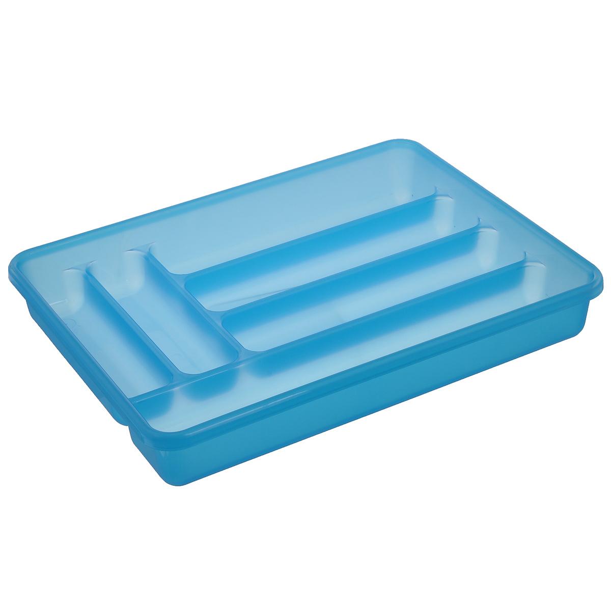 Лоток для столовых приборов Cosmoplast, 6 отделений, цвет: голубойВетерок 2ГФЛоток для столовых приборов Cosmoplast изготовлен из высококачественного пищевого пластика. Он предназначен для выдвигающихся ящиков на кухне. Лоток имеет шесть отделений: три отделения для вилок, ложек, ножей, два малых отделения для чайных ложек и десертных вилок, одно большое отделение для остальных приборов.Размер большого отделения: 38,5 см х 8 см.Размер средних отделений: 27 см х 6,5 см.Размер маленьких отделений: 20 см х 5 см.