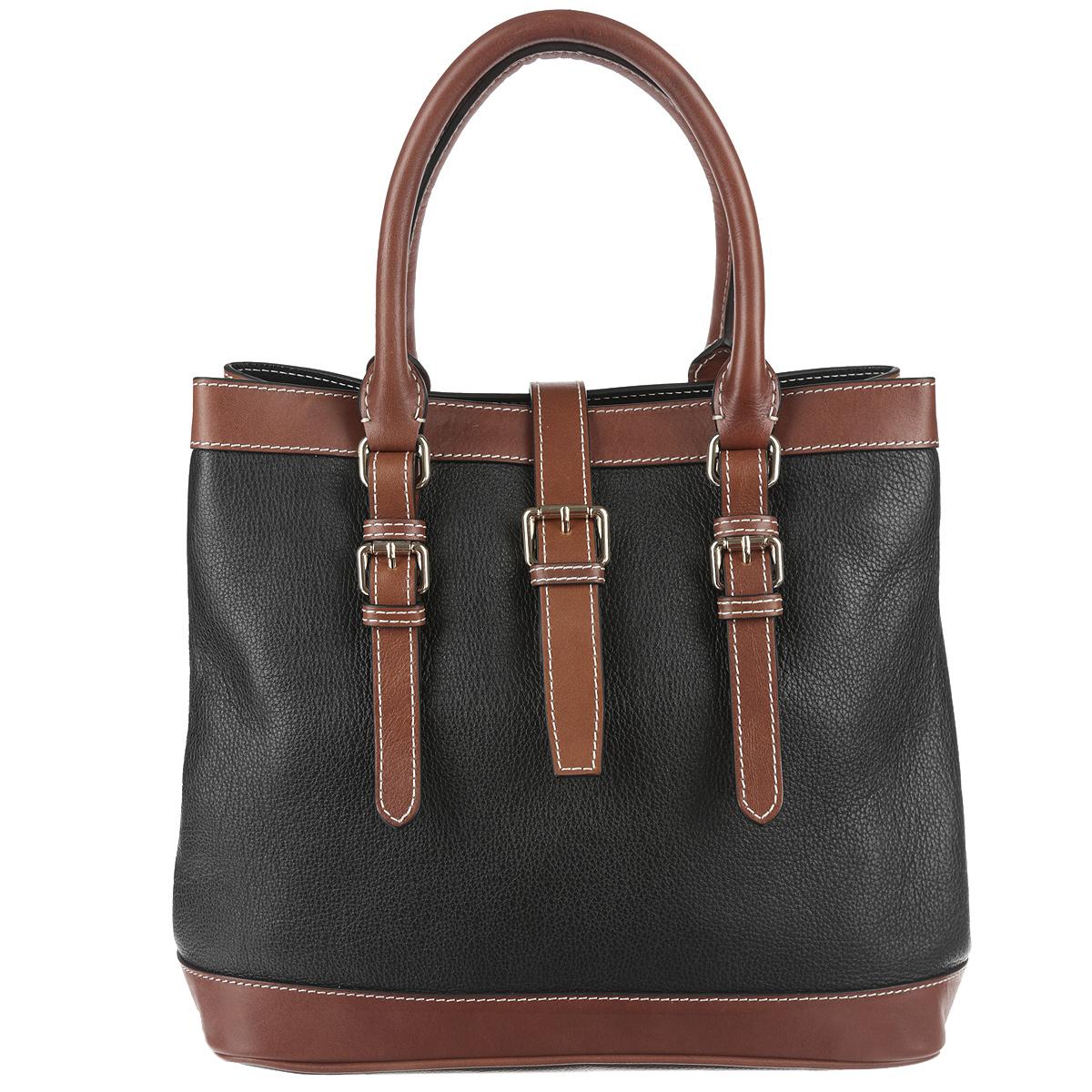 Сумка женскя Frija, цвет: черный, коричневый. 21-0161-1323008Стильная женская сумка Frija выполнена из натуральной кожи в классическом стиле. Внутри сумки одно основное отделение и два внутренних кармана для телефона и мелочей, два из которых на молнии. Снаружи сумка закрывается на молнию и на хлястик на магните, по бокам крепится кнопками, поэтому ее можно носить в развернутом виде. Высота ручек 14 см. Высота плечевого ремня 137 см.В комплекте чехол для хранения.Роскошная сумка внесёт элегантные нотки в ваш образ и подчеркнёт отменное чувство стиля.