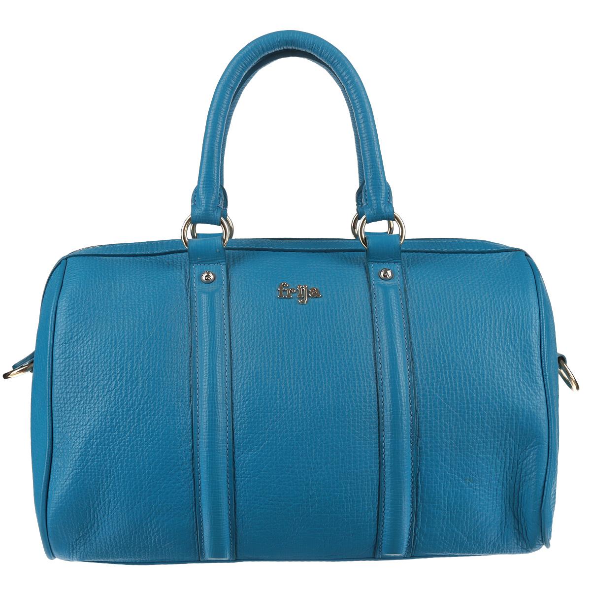 Сумка женская Frija, цвет: синий. 21-2056-11S76245Стильная женская сумка Frija выполнена из натуральной кожи с зернистым рисунком. Сумка имеет одно основное отделение, закрывающееся на металлическую молнию. Внутри - вшитый карман на молнии и один накладной карман для мобильного телефона и других мелочей. Сумка оснащена двумя ручками, крепящимися при помощи фурнитуры золотого цвета. Высота ручек 13 см.В комплекте чехол для хранения.Роскошная сумка внесёт элегантные нотки в ваш образ и подчеркнёт отменное чувство стиля.