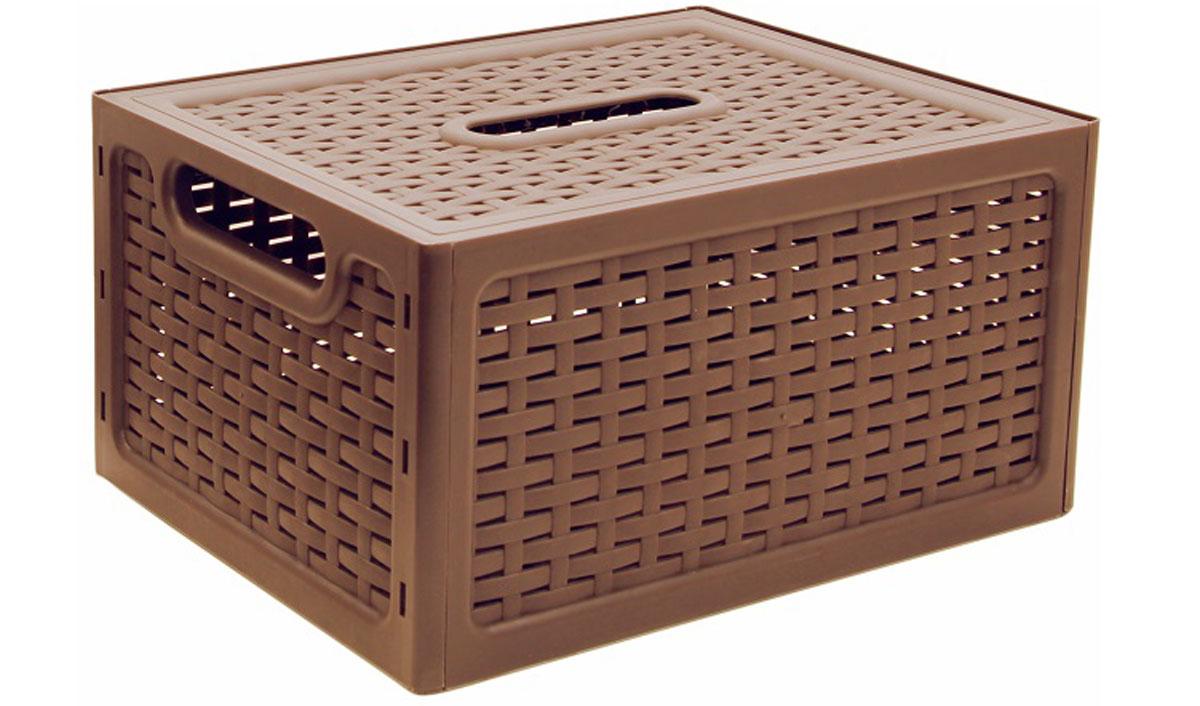 Ящик универсальный Idea ротанг, с крышкой, цвет: кофейный, 37 х 28 х 19 см47008Универсальный ящик Idea Ротанг выполнен из прочного пластика и предназначен для хранения различных предметов. Ящик оснащен удобной крышкой и двумя ручками. Элегантный выдержанный дизайн позволяет органично вписаться в ваш интерьер и стать его элементом.