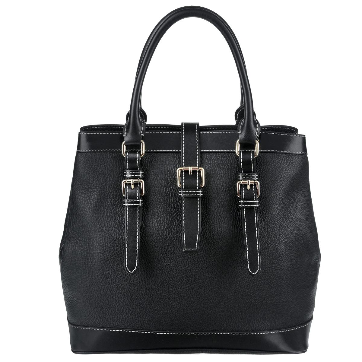 Сумка женская Frija, цвет: черный. 21-0161-13KV996OPY/MСтильная женская сумка Frija выполнена из натуральной кожи в классическом стиле. Внутри сумки одно основное отделение и два внутренних кармана для телефона и мелочей, два из которых на молнии. Снаружи сумка закрывается на молнию и на хлястик на магните, по бокам крепится кнопками, поэтому ее можно носить в развернутом виде. Высота ручек 14 см. Высота плечевого ремня 137 см.В комплекте чехол для хранения.Роскошная сумка внесёт элегантные нотки в ваш образ и подчеркнёт отменное чувство стиля.- размер: длина — 33 см, ширина - 16,5 см, высота - 31 см, высота ручек - 14 см, длина съемного плечевого ремня - 137 см- внутри: модель имеет одно основное отделение и три внутренних кармана для телефона и мелочей, два из которых на молнии- снаружи: сумка закрывается на хлястик на магните, по бокам крепится кнопками, можно носить в развернутом виде
