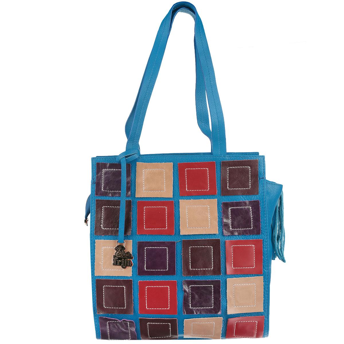 Сумка женская Frija, цвет: голубой, синий, красный. 21-0111-1310931-1Оригинальная женская сумка Frija изготовлена из натуральной кожи и оформлена яркими элементами из натуральной кожи, нашитыми на лицевую часть изделия. Сумка дополнена кистью из натуральной кожи, которая закреплена на бегунке молнии, а также подвеской с изображением логотипа производителя.Изделие содержит одно главное отделение, закрывающееся на застежку-молнию, внутри которого расположены два накладных кармана для телефона и мелочей и вшитый карман на молнии. Снаружи, в задней стенке сумки, размещен вшитый карман на молнии. Сумка дополнена двумя практичными ручками, которые позволять носить ее как в руках, так и на плече. Дно сумки оснащено металлическими ножками, которые защитят его от повреждений и продлят срок службы изделия.Такая сумка прекрасно дополнит ваш повседневный образ.