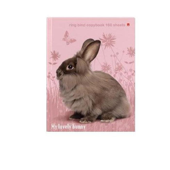 Тетрадь на кольцах со сменным блоком Милый кролик, цвет: бежевый, розовый, 160 листов.7-160-081/39 Д125000Тетрадь формата А5 Милый кролик выпускается в твердом негнущемся переплете из качественного картона. Механизм крепления внутреннего блока на кольцах - универсальное решение, позволяющее варьировать структуру, изменяя порядок страниц. В комплект входит блок из 160 листов белой бумаги в клетку без разметки на поля.