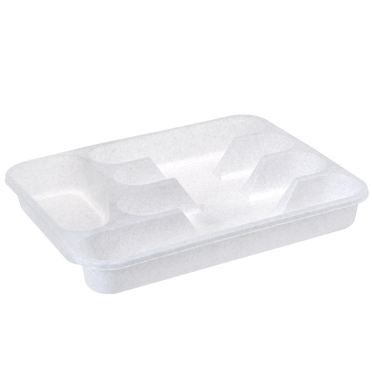 Лоток для столовых приборов Idea, цвет: мраморный, 33 х 26 смVT-1520(SR)Лоток для столовых приборов Idea изготовлен из прочного пластика. Изделие имеет 3 одинаковых секции для столовых ложек, вилок и ножей, секцию для чайных ложек и длинную секцию для различных кухонных принадлежностей. Лоток помещается в любой кухонный ящик.