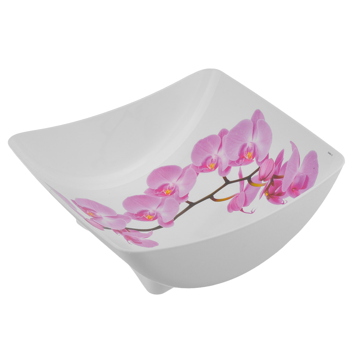 Салатник Idea Деко. Орхидея, квадратный, 2 л115510Салатник Idea Орхидея изготовлен из высококачественного полипропилена и идеально подходит для сервировки стола. Такой салатник не только украсит ваш кухонный стол и подчеркнет прекрасный вкус хозяйки, но и станет отличным подарком. Можно мыть в посудомоечной машине. Размер салатника (по верхнему краю): 23,5 см х 21,5 см. Высота салатника: 8,5 см. Объем салатника: 2 л.