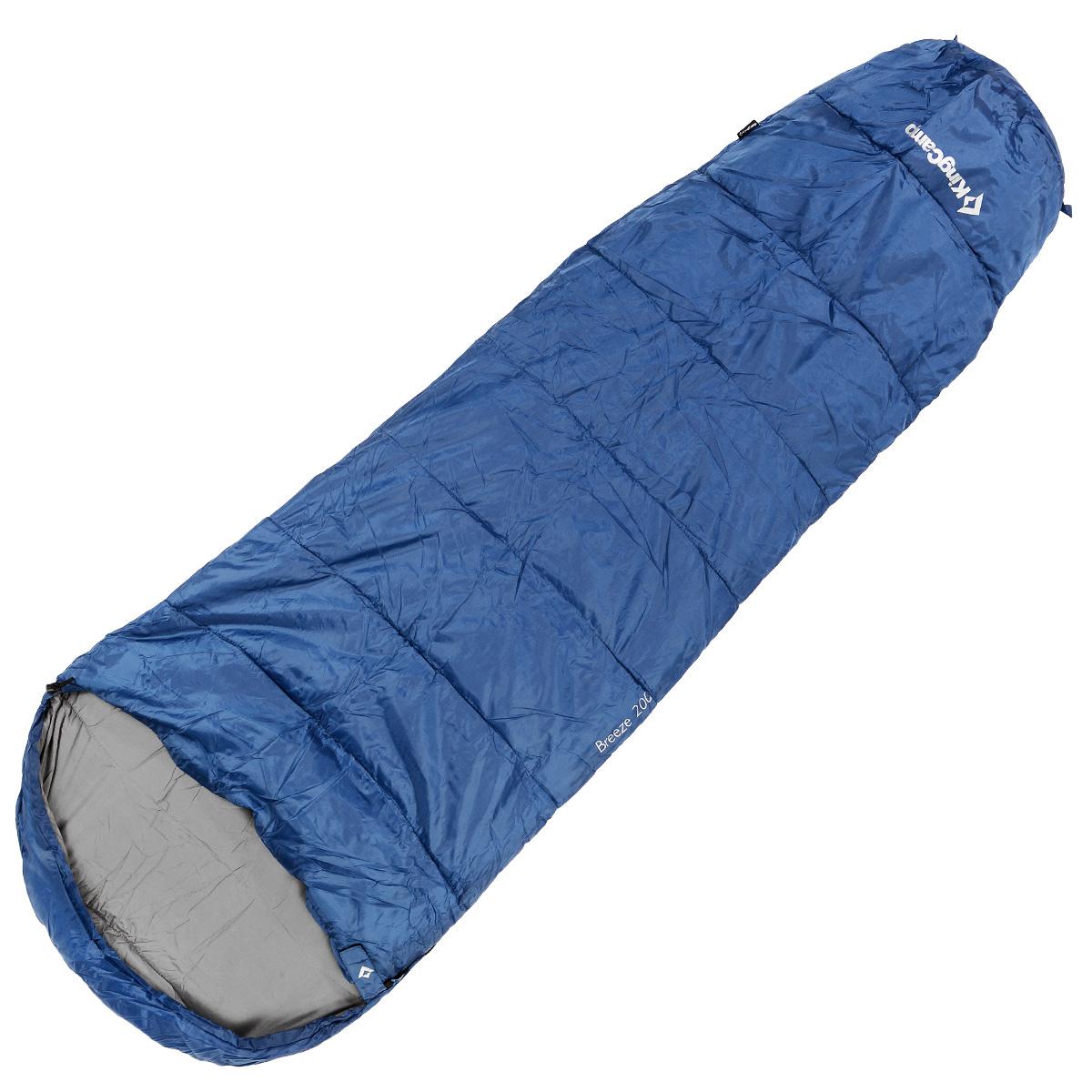 Спальный мешок-кокон KingCamp Breeze, цвет: синий, 215 см x 80 см х 55 см, правосторонняя молния67742Спальный мешок-кокон KingCamp Breeze предусмотрен как для лета, так и для прохладного времени года, так как рассчитан на температуру от -4°C до +11°С. Спальный мешок выполнен в форме кокона, имеет удобный подголовник. В сложенном виде спальный мешок занимает очень мало места и весит совсем немного. Оснащен удобным нейлоновым компрессионным мешком для переноски. Отлично подходит для летних походов, кемпинга, треккинга и велотуризма.Вес: 1,2 кг.