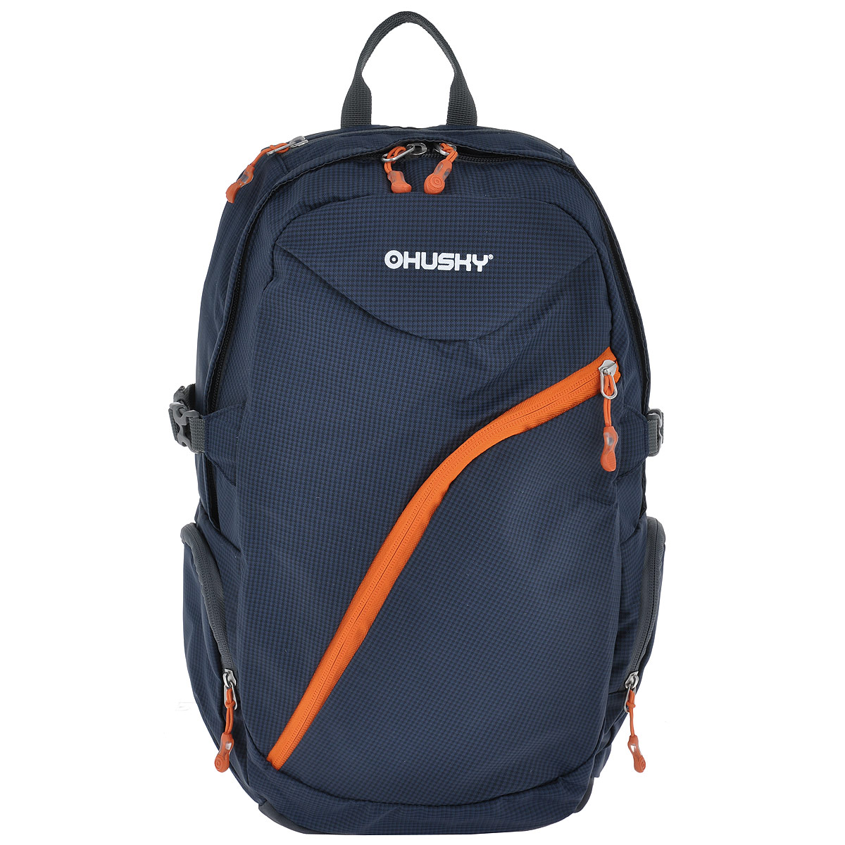 Рюкзак городской Husky Nexy, цвет: темно-синий, оранжевый, 22 лMW-1462-01-SR серебристыйГородской рюкзак Husky Nexy изготовлен из водонепроницаемого нейлона, оснащен светоотражающими элементами. Рюкзак содержит одно главное отделение, в котором есть карман для переноски ноутбука или планшета.На лицевой стороне находится карман на молнии, внутри которого расположены 4 накладных кармана для канцелярии. По бокам рюкзака находятся 2 кармана на молнии. Сверху также есть 1 карман на застежке-молнии. Рюкзак очень удобно носить благодаря системе вентиляции спины AMS и широким лямкам.Вес: 550 г.