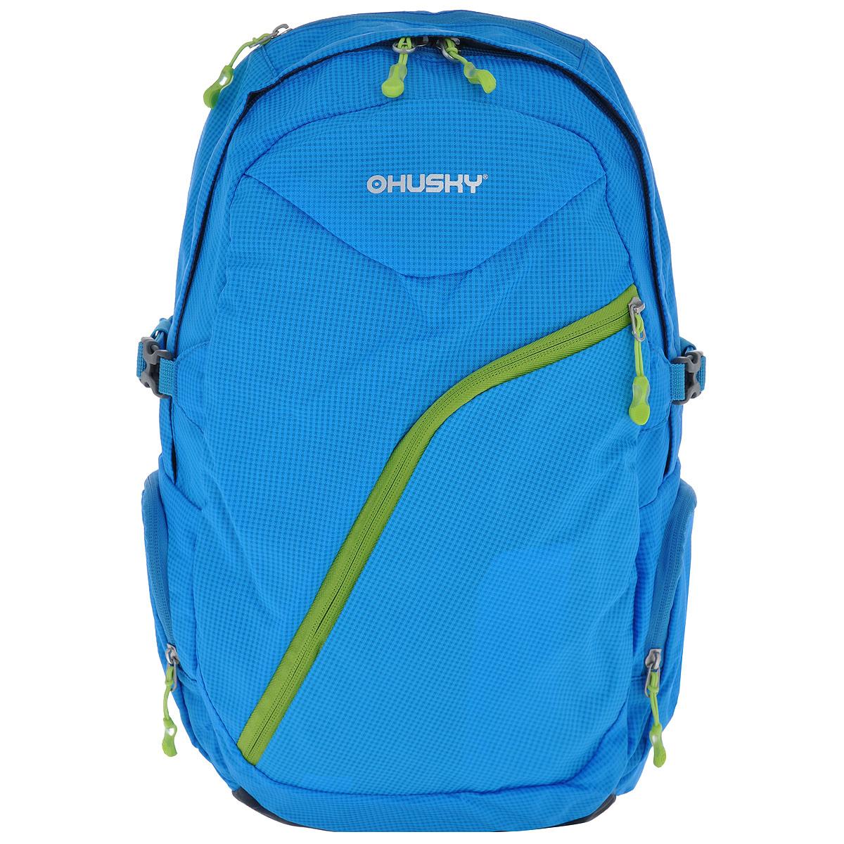 Рюкзак городской Husky Nexy, цвет: голубой, салатовый, 22 лZ90 blackГородской рюкзак Husky Nexy изготовлен из водонепроницаемого нейлона, оснащен светоотражающими элементами. Рюкзак содержит одно главное отделение, в котором есть карман для переноски ноутбука или планшета.На лицевой стороне находится карман на молнии, внутри которого расположены 4 накладных кармана для канцелярии. По бокам рюкзака находятся 2 кармана на молнии. Сверху также есть 1 карман на застежке-молнии. Рюкзак очень удобно носить благодаря системе вентиляции спины AMS и широким лямкам.Вес: 550 г.