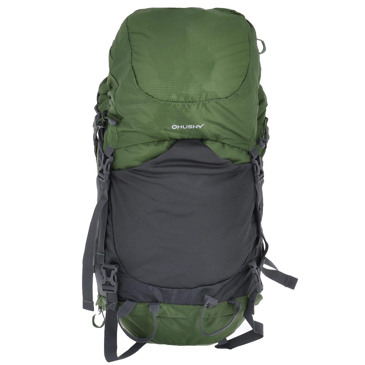 Рюкзак туристический Husky Menic, цвет: черный, серый, зеленый, 50 л30785Рюкзак Husky Menic - незаменимый атрибут туриста! Он выполнен из водонепроницаемого нейлона и оснащен светоотражательными элементами.С этим вместительным рюкзаком можно отправиться в любое путешествие. Его удобно носить за плечами благодаря широким лямкам, грудному ремню, ремню на поясе и жесткой спинке с дюралюминиевыми вставками и системой вентиляции спины ETS. Основное отделение имеет объем 50 л. Доступ к нему открывается сверху (закрывается затягивающимся шнурком, пластиковым карабином и капюшоном), снизу (замок на застежке-молнии и карабин) и сбоку (застежка-молния). Внутри главного отделения находится глубокий карман на застежке-молнии для гидратора.Сверху у рюкзака находится 1 карман на застежке-молнии (на капюшоне) с 2 сетчатыми карманами внутри. Капюшон соединяется с нижней частью рюкзака при помощи 2 пластиковых карабинов.На лицевой стороне расположен эластичный карман на резинке. По бокам рюкзака расположены 2 кармана на резинке. Также есть карман на застежке-молнии на поясе.На дне рюкзака находится карман с накидкой от дождя.Рюкзак Husky Menic - превосходный выбор для путешествия с комфортом. Вес: 1,68 кг.