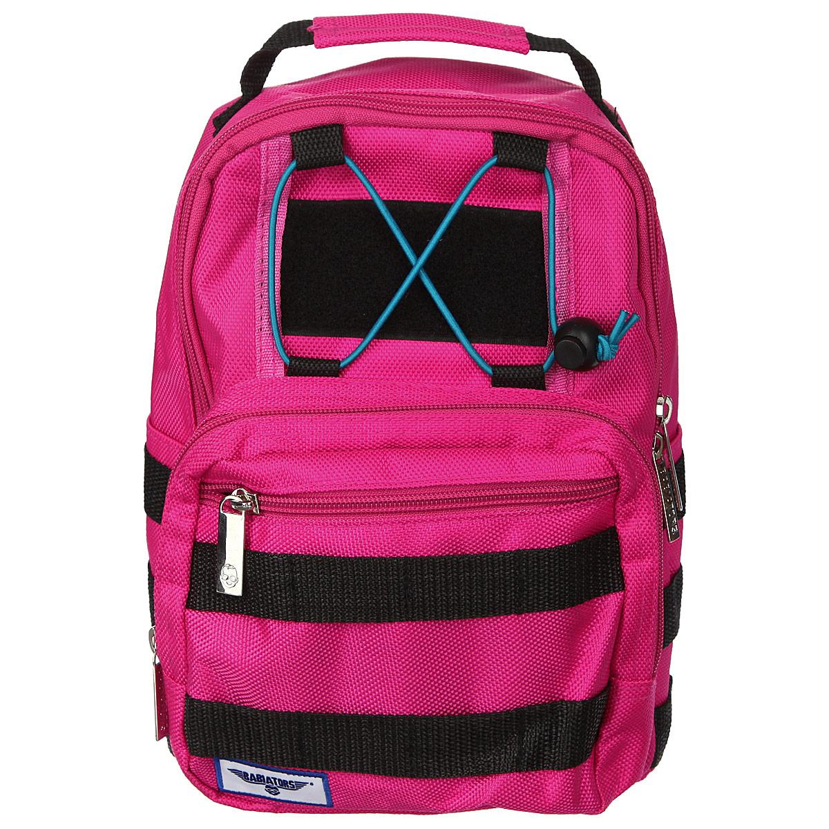 Рюкзак-мини Babiators Rocket Pack, цвет: розовый72523WDРюкзак-мини Babiators Rocket Pack обязательно пригодится вашему ребенку! Он может взять его с собой на прогулку, в гости или в детский сад.Выполнен рюкзак из износоустойчивой ткани с водонепроницаемой основой, что позволяет ему надежно защищать вещи от влаги и верно служить долгое время. Содержит одно отделение, закрывающееся на застежку-молнию с двумя бегунками. Внутри отделения имеются два горизонтальных кармашка на липучке. Лицевая сторона рюкзака оснащена накладным карманом на застежке-молнии, внутри которого имеется открытый кармашек. Передняя сторона этого накладного кармана дополнена врезным горизонтальным отделением, также закрывающимся на молнию. Рюкзак-мини имеет два боковых нашивных кармана. Задняя стенка рюкзака оснащена горизонтальным карманом на липучке. По бокам и с лицевой стороны рюкзака имеется множество петель для разнообразных вещей ребенка. Рюкзак оснащен регулируемыми по длине плечевыми ремнями и дополнен текстильной ручкой для переноски в руке. Для обеспечения удобства и надежности рюкзака на спине на лямках предусмотрен фиксатор. Такой рюкзак порадует глаз и подарит отличное настроение вашему ребенку, который будет с удовольствием носить в нем свои вещи или любимые игрушки.