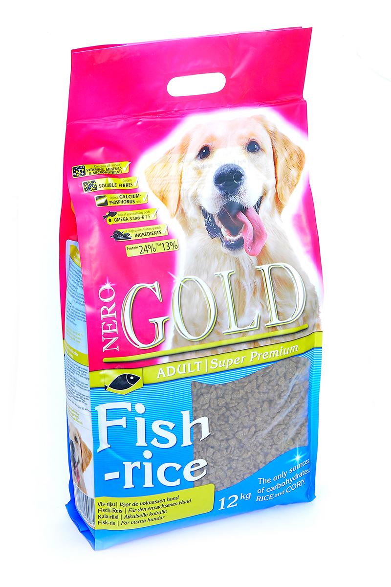 Корм сухой Nero Gold Fish-Rice, для взрослых собак, рыбный коктейль, рис и овощи, 12 кг0120710Корм сухой Nero Gold Fish-Rice - полнорационный сбалансированный корм супер премиум класса для собак на всех стадиях жизни на основе свежей рыбы.Подходит для собак, склонных к аллергиям. Превосходный диетический корм. Содержит оптимальное соотношение Омега-3 и Омега-6 жирных кислот. Корм на основе рыбы защищает сердечнососудистую систему от атеросклероза. Способствует защите кишечника от патогенных организмов, вызывающих несварение. Пивные дрожжи улучшают состояние шерсти придают ей блеск и шелковистость. L-Карнитин за счет снижения уровня молочной и пировиноградной кислот способствует повышению выносливости, а также увеличивает двигательную активность и повышает переносимость физических нагрузок. Льняное семя богато растительными жирами, особенно полиненасыщенными или не заменимыми жирными кислотами омега-3 и омега-6, которые благоприятно влияют практически на все процессы жизнедеятельности организма. Глюкозамин и хондроитин укрепляют соединительные структуры тканей, в том числе хрящи, уменьшают мышечную утомляемость. Состав: дегидрированная рыба (мин. 20%), рис (мин. 18%), маис, овощи, куриный жир, мякоть свеклы, льняное семя, гидролизованная куриная печень, минералы и витамины, дрожжи, гидролизованные хрящи (источник хондроитина), гидролизат ракообразных (источник глюкозамина), L-карнитин, лецитин, инулин (ФОС), таурин. Пищевая ценность: протеин 24%, жиры 13%, клетчатка 2,5, зола 6%, влажность 9%, фосфор 0,9%, кальций 1,3%.Пищевые добавки (на 1 кг): витамин A (E672) 15 000 IU, витамин D3 (E671) 1 500 IU, витамин E (альфа токоферола ацетат) 210 мг, витамин C (фосфат аскорбиновой кислоты) 100 мг, сульфат железа 50 мг, иодат кальция 1,5 мг, сульфат меди 5 мг, сульфат марганца 35 мг, сульфат цинка 65 мг.Товар сертифицирован.