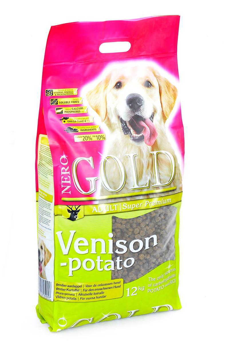 Корм сухой Nero Gold Venison-Potato, для взрослых собак, оленина и сладкий картофель, 12 кг0120710Корм сухой Nero Gold Venison-Potato является хорошим выбором для взрослых собакNero Gold - это линейка полностью сбалансированных кормов для собак и кошек супер премиум класса. Состав: дегидрированная оленина (мин. 21 %), рис, картофельная мука (мин. 20 %), мякоть свеклы, льняное семя, куриный жир, гидролизованная куриная печень, минералы и витамины, дрожжи, подсолнечное масло, гидролизованные хрящи (источник хондроитина), гидролизат ракообразных (источник глюкозамина), L-карнитин, лецитин, инулин (ФОС), таурин. Пищевая ценность: протеин 20%, жиры 10%, клетчатка 2,5%, зола 7,5%, влажность 9%, фосфор 0,9%, кальций 1,2%.Пищевые добавки (на 1 кг): витамин A (E672) 15 000 IU, витамин D3 (E671) 1 500 IU, витамин E (альфа токоферола ацетат) 200 мг, витамин C (фосфат аскорбиновой кислоты) 70 мг, сульфат железа 50 мг, иодат кальция 1,5 мг, сульфат меди 5 мг, сульфат марганца 35 мг, сульфат цинка 65 мг.Товар сертифицирован.