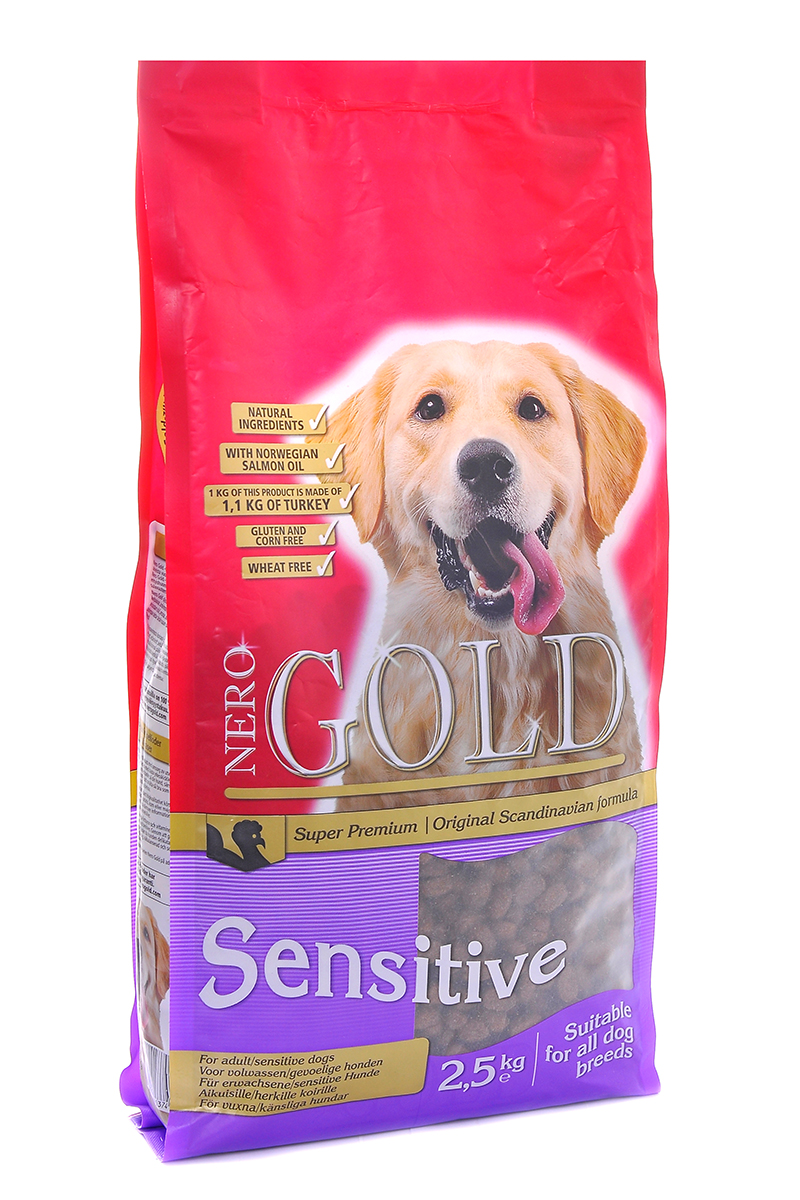 NERO GOLD super premium Для Чувствительных собак с Индейкой и рисом (Sensitive Turkey 23/13), 2,5 кг.0120710Состав: дегидрированное мясо индейки, рис, куриный жир, мякоть свеклы, льняное семя, гидролизованная куриная печень, дрожжи, минералы и витамины, гидролизованные хрящи (источник хондроитина), гидролизат ракообразных (источник глюкозамина), L-карнитин, лецитин, инулин (ФОС), таурин. Условия хранения: в прохладномтемном месте.