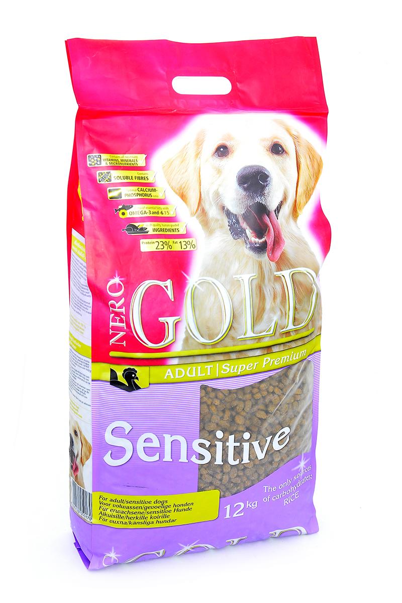 Корм сухой Nero Gold Sensitive, для чувствительных собак, индейка и рис, 12 кг0120710Nero Gold Sensitive полнорационный сбалансированный корм Супер-премиум класса для чувствительных собак.Преимущества: - Единственный источник белка и углеводов - индейка.- Подходит собакам с чувствительным пищеварениям и/или страдающим от пищевой непереносимости.- Идеально подходит в случае любых аллергий на пищу. - Способствует поддержанию баланса кишечной микрофлоры собаки. Пивные дрожжи улучшают состояние шерсти придают ей блеск и шелковистость. Льняное семя богато растительными жирами, особенно полиненасыщенными или не заменимыми жирными кислотами омега-3 и омега-6, которые благоприятно влияют практически на все процессы жизнедеятельности организма. Глюкозамин и хондроитин укрепляют соединительные структуры тканей, в том числе хрящи, уменьшают мышечную утомляемость.Состав: дегидрированное мясо индейки, рис, куриный жир, мякоть свеклы, льняное семя, гидролизованная куриная печень, дрожжи, минералы и витамины, гидролизованные хрящи (источник хондроитина), гидролизат ракообразных (источник глюкозамина), L-карнитин, лецитин, инулин (ФОС), таурин.Пищевая ценность: протеин 23%, жиры 13%, клетчатка 2%, зола 7%, влажность 8%, фосфор 1%, кальций 1,4%.Пищевые добавки (на 1 кг): витамин A (E672) 15 000 IU, витамин D3 (E671) 1 500 IU, витамин E (альфа токоферола ацетат) 100 мг, витамин C (фосфат аскорбиновой кислоты) 100 мг, сульфат железа 50 мг, иодат кальция 1,5 мг, сульфат меди 5 мг, сульфат марганца 35 мг, сульфат цинка 65 мг.Товар сертифицирован.