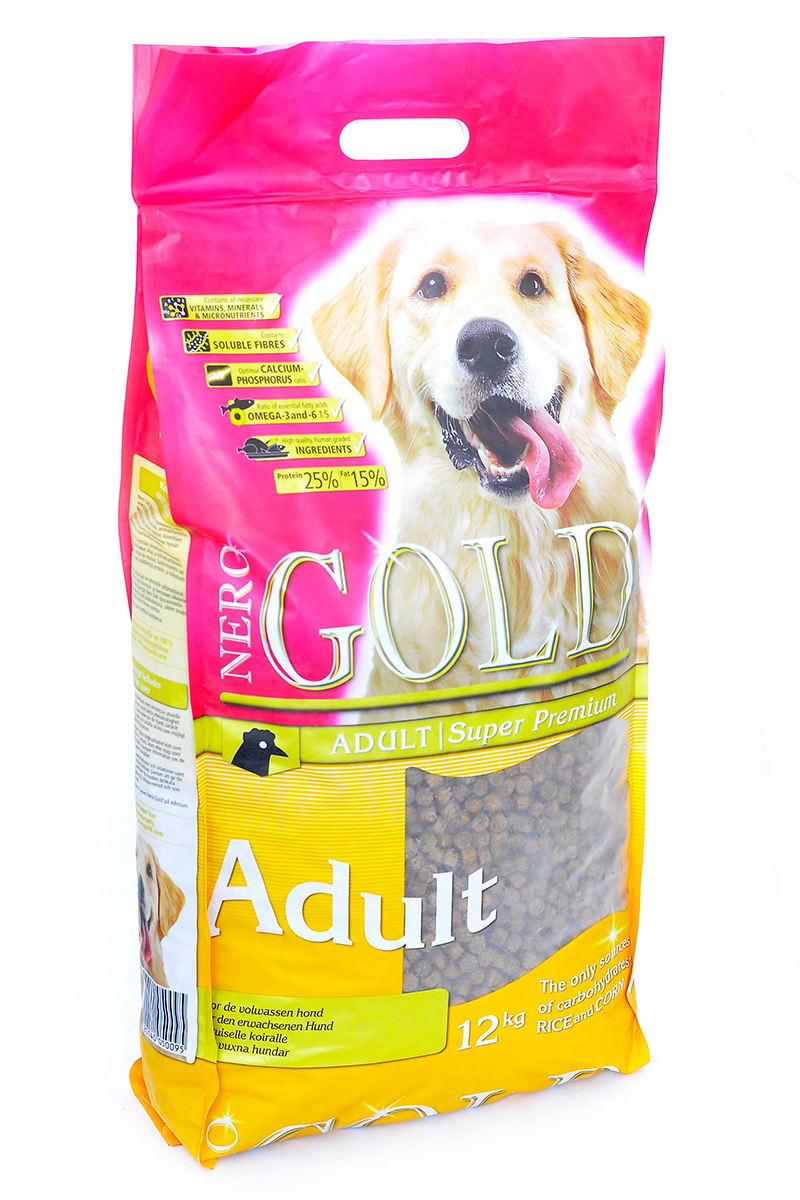 Корм сухой Nero Gold Adult, для взрослых собак, курица и рис, 12 кг0120710Корм сухой Nero Gold Adult - полнорационный сбалансированный корм супер премиум класса для взрослых собак.Насыщенное содержание первоклассного куриного мяса и сбалансированное сочетание выбранных ингредиентов. Подходит для собак с нормальной активностью и для служебных собак в период отпуска. Не содержит пшеницу,сою, молочные ингредиенты, говядину, свинину, субпродукты и ГМО. Именно эти ингредиенты вызывают пищевую непереносимостьСостав: дегидрированное куриное мясо, маис, рис, мякоть свеклы, дегидрированная рыба, кэроб, льняное семя, куриный жир, гидролизованная куриная печень, минералы и витамины, дрожжи и лецитин.Пищевая ценность: протеин 25%, жиры 15%, клетчатка 2,5%, зола 7%, влажность 9%, фосфор 1%, кальций 1,2%.Пищевые добавки (на 1 кг): витамин A (E672) 14 000 IU, витамин D3 (E671) 1 400 IU, витамин E (альфа токоферола ацетат) 50 мг, витамин C (фосфат аскорбиновой кислоты) 100 мг, сульфат железа 50 мг, иодат кальция 1,5 мг, Сульфат кобальта 1 мг/кг, сульфат меди 5 мг, сульфат марганца 35 мг, сульфат цинка 65 мг.Товар сертифицирован.