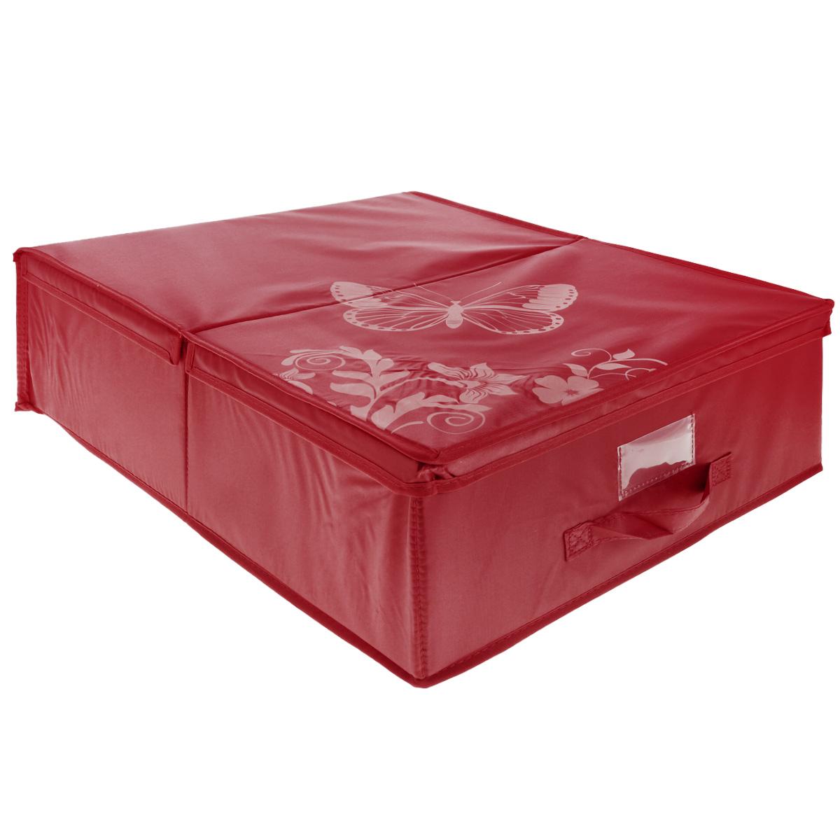 "Кофр подкроватный Hausmann ""Butterfly"", цвет: красный, 43 см х 54 см х 18 см"