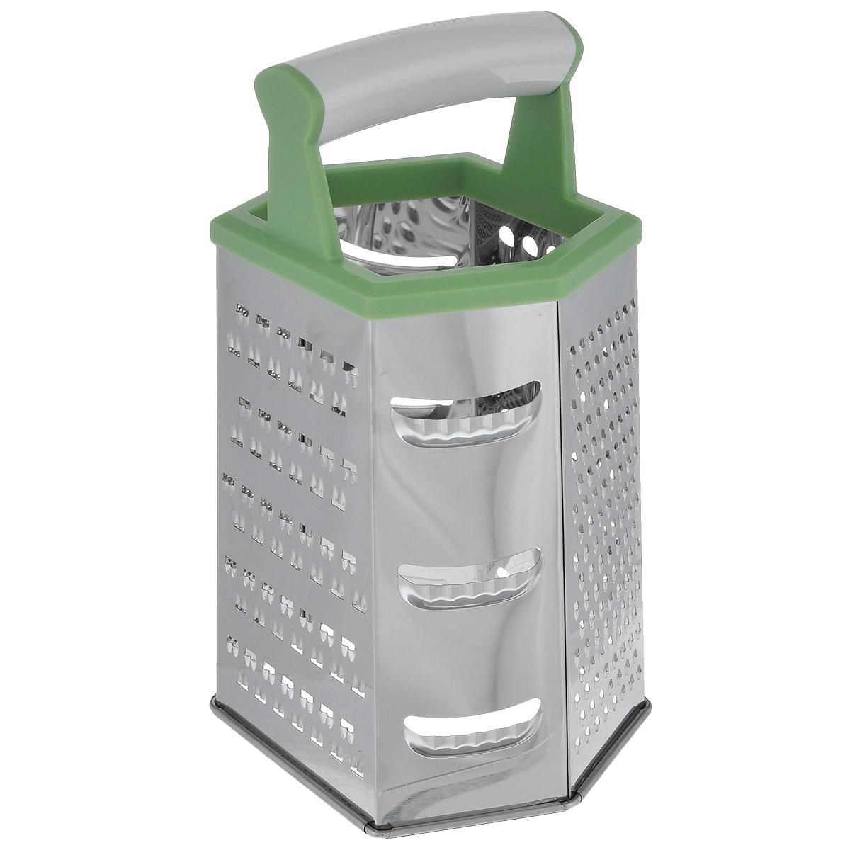 Терка шестигранная Tescoma Handy, цвет: зеленый, высота 22 смBK-5206Шестигранная терка Tescoma Handy, выполненная из высококачественной нержавеющей стали с зеркальной полировкой, станет незаменимым атрибутом приготовления пищи. Сверху на терке расположена удобная пластиковая ручка. Терка замечательна для простого и быстрого измельчения и нарезки продуктов на ломтики. На одном изделии представлены шесть видов терок - крупная, мелкая, терка для овощных пюре, фигурная, шинковка и шинковка фигурная. Современный стильный дизайн позволит терке занять достойное место на вашей кухне.Можно мыть в посудомоечной машине.