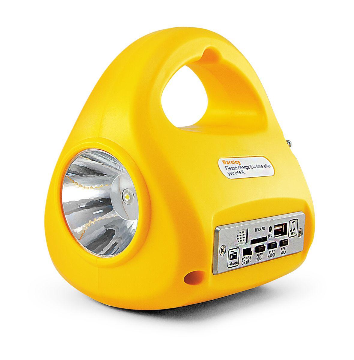 Фонарь кемпинговый Яркий Луч LA-FM67742АККУМУЛЯТОРНЫЙ СВЕТОДИОДНЫЙ ФОНАРЬ-РАДИО-МР3 LA-FM ЯРКИЙ ЛУЧ Мощный светодиод 2 Вт (150 Лм) обеспечивает направленный свет дальностью до 50 метров. 30 ярких светодиодов (суммарно 170 лм) на нижней грани для местного освещения. Наличие радиоприемника (FM диапазон) и MP3-плейера для нескучного досуга. USB-разъем для подключения «флешки» с музыкальными композициями (MP3). Разъем для MicroSD карт памяти с музыкальными композициями (MP3). Встроенная защита от перезаряда и полного разряда аккумулятора. Функция аварийного освещения. При отключении напряжения сети фонарь включится автоматически.Аккумуляторный многофункциональный светодиодный ФОНАРЬ «ЯРКИЙ ЛУЧ».Два режима работы. «Прожектор»: 2 Вт светодиод обеспечит направленным светом дальнего действия, световой поток 150 люмен, время работы – до 4 часов.«Кемпинг»: 30 светодиодов – рассеянный свет для местного освещения, световой поток 170 люмен, время работы – до 7 часов.Возможность прослушивания радио в FM-диапазоне, время работы – до 15 часов; проигрывание MP3-композиций с flash- накопителя или MicroSD карты памяти, время работы – до 6 часов (в зависимости от уровня громкости звука).Встроенный кислотно-свинцовый аккумулятор 4 В, 2000 мАч. Время зарядки составляет от 10 до 12 часов.