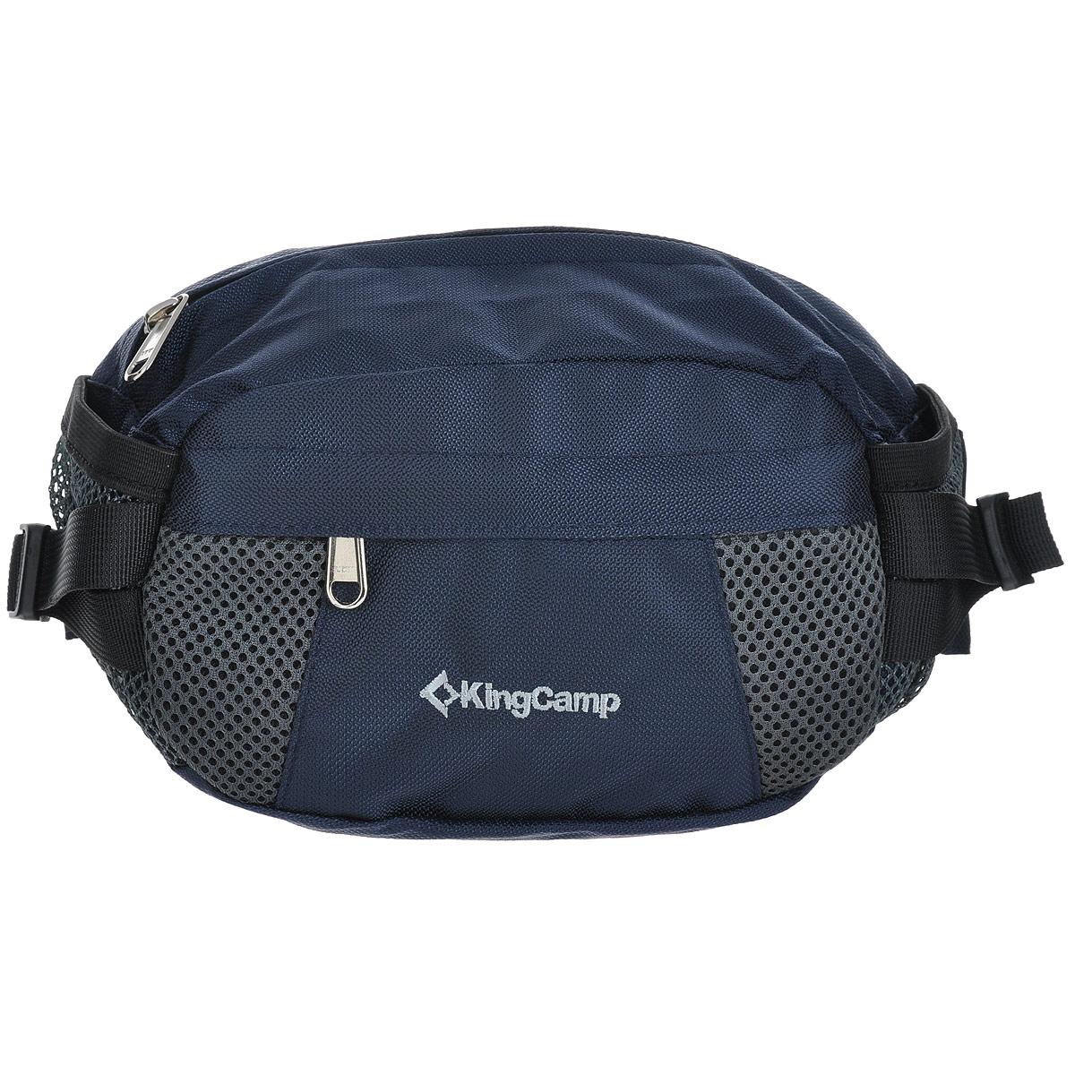 Сумка поясная KingCamp Coral, цвет: синий10130-11Поясная сумка KingCamp Coral изготовлена из нейлона. Сумка имеет 1 основное отделение на застежке-молнии с 2 накладными карманами, одно из которых закрывается на застежку молнию. На лицевой стороне расположен накладной карман на застежке-молнии, по бокам - 2 сетчатых кармашка.Такая сумка отлично подойдет любителям фитнеса и пробежек. В нее можно положить необходимые вещи, такие как плеер, ключи, телефон, не боясь, что они потеряются. Сумка крепится на пояс при помощи ремня с пластиковым карабином. Максимальная длина пояса: 95 см.