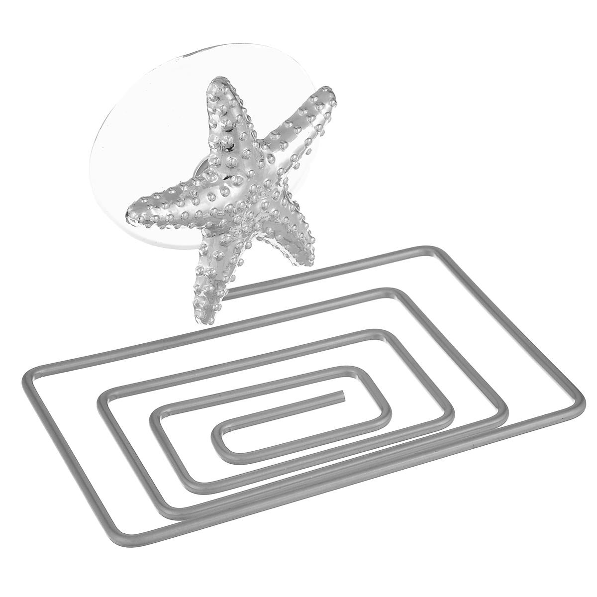 Мыльница Home Queen Морская звезда, цвет: серебристый, 12 х 9 х 9 см68/2/3Мыльница Home Queen Морская звезда выполнена из хромированной стали и украшена пластиковой фигуркой. Крепится к стене при помощи присоски. Такая мыльница прекрасно подойдет для ванной комнаты или кухни.