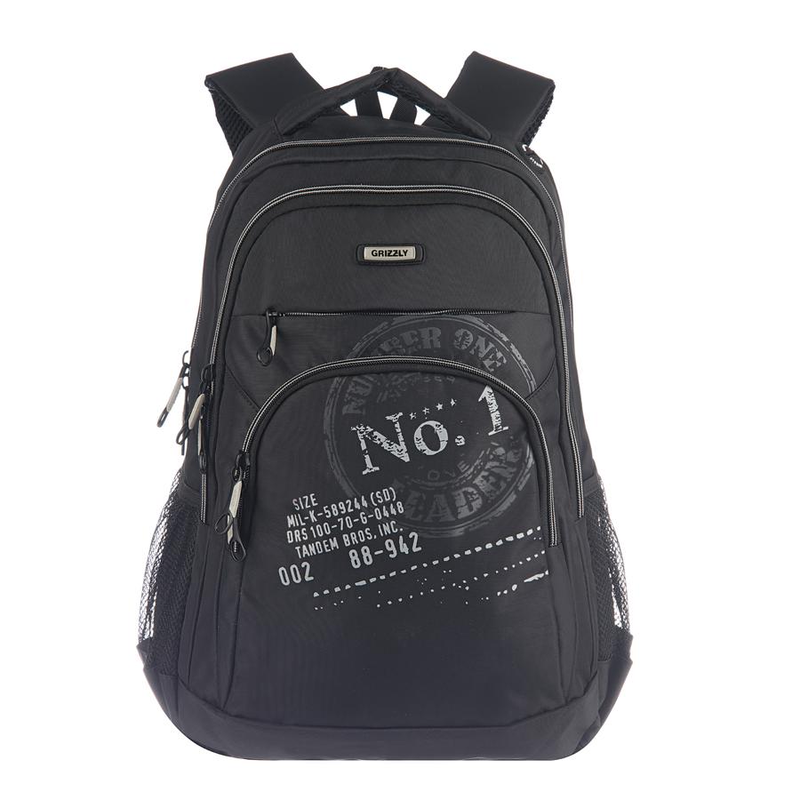 Рюкзак городской Grizzly, цвет: черный, серый, 26 л. RU-518-1/5BM8434-58AEРюкзак Grizzly - это удобный и практичный рюкзак со множеством отделений и карманами, изготовленный из нейлона. Рюкзак имеет одно главное и одно дополнительное отделение, которые закрываются на застежку-молнию. Внутри основного отделения - карман на молнии, внутри дополнительного - четыре небольших кармашка для письменных принадлежностей. По бокам рюкзака - два сетчатых кармана на резинке. На передней панели - вместительный карман на молнии и потайной карман на молнии. Модель имеет укрепленную спинку с мягкими рельефными вставками и анатомическими лямками, а также ручку для переноски. Такой рюкзак - практичное и стильное приобретение на каждый день.
